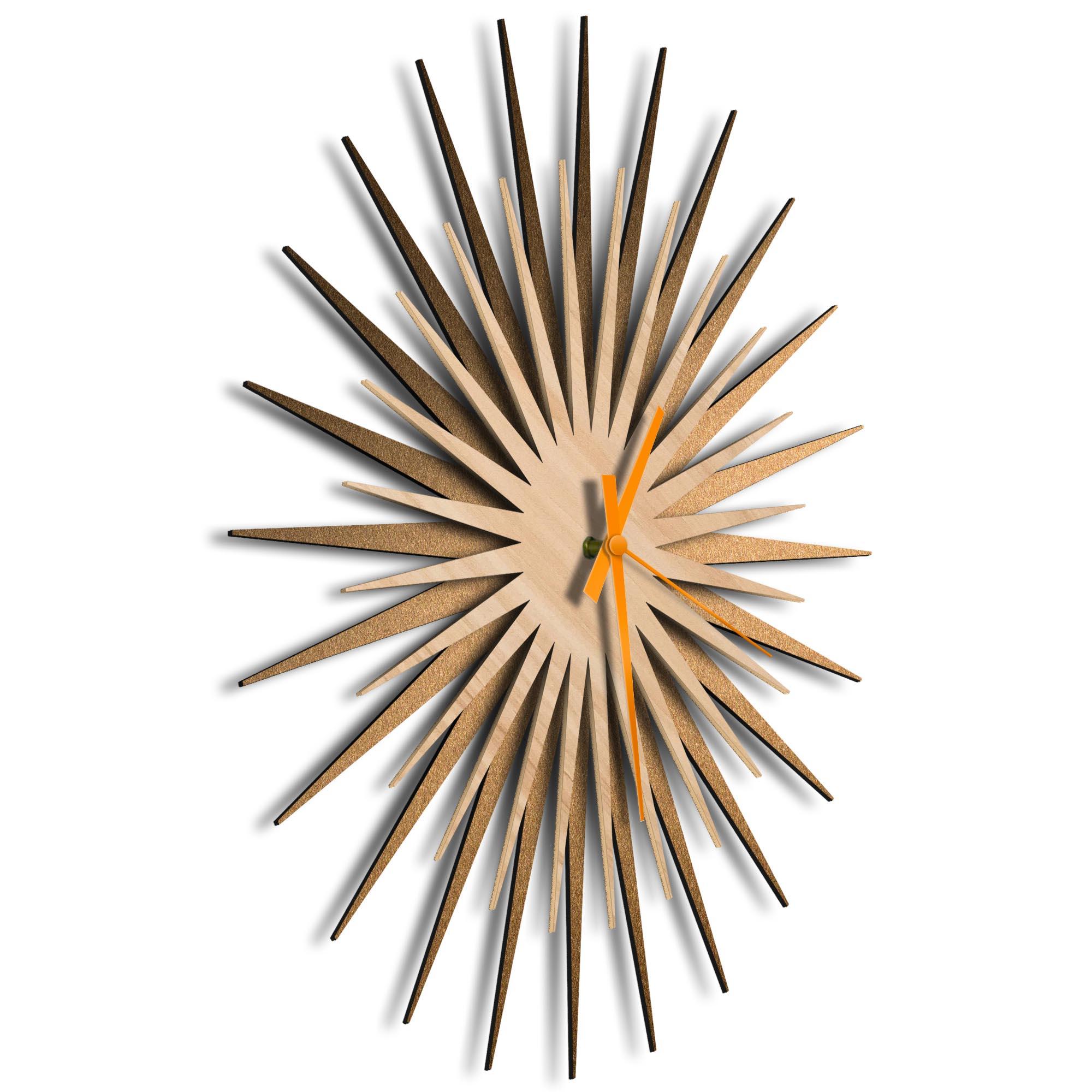 Atomic Era Clock Bronze Maple Orange by Adam Schwoeppe - Mid-Century Modern Clock on Brushed Bronze Polymetal - Image 2