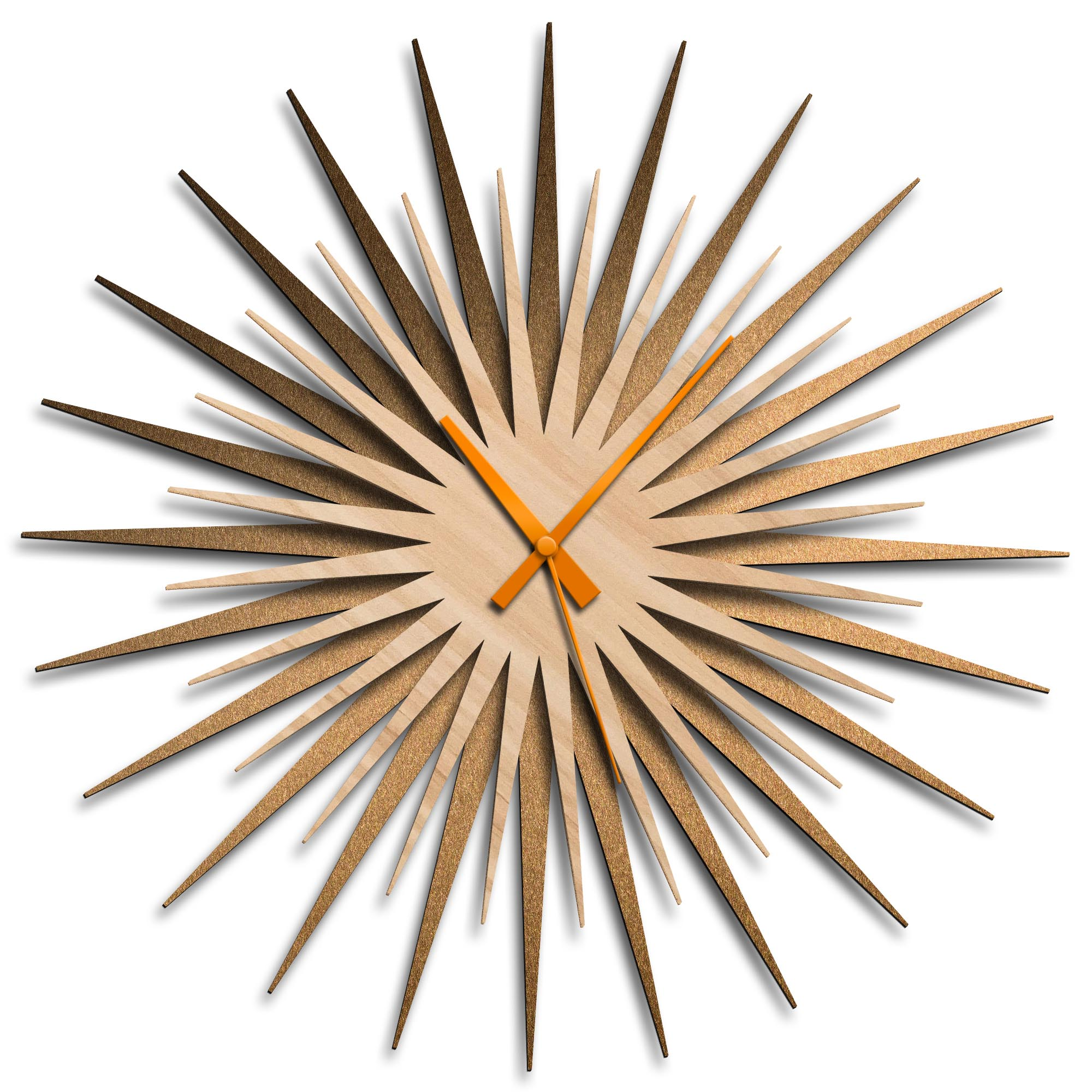 Adam Schwoeppe 'Atomic Era Clock Bronze Maple Orange' Midcentury Modern Style Wall Clock