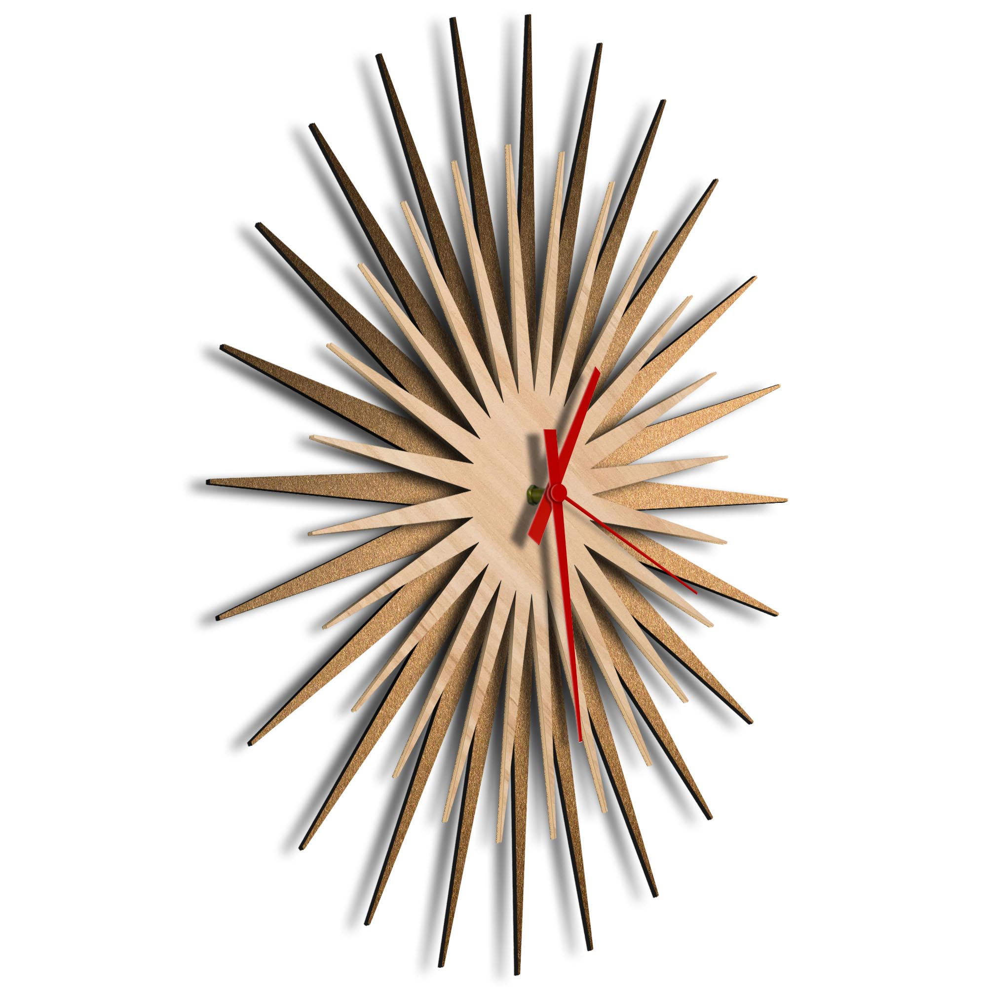 Atomic Era Clock Bronze Maple Red by Adam Schwoeppe - Mid-Century Modern Clock on Brushed Bronze Polymetal - Image 2