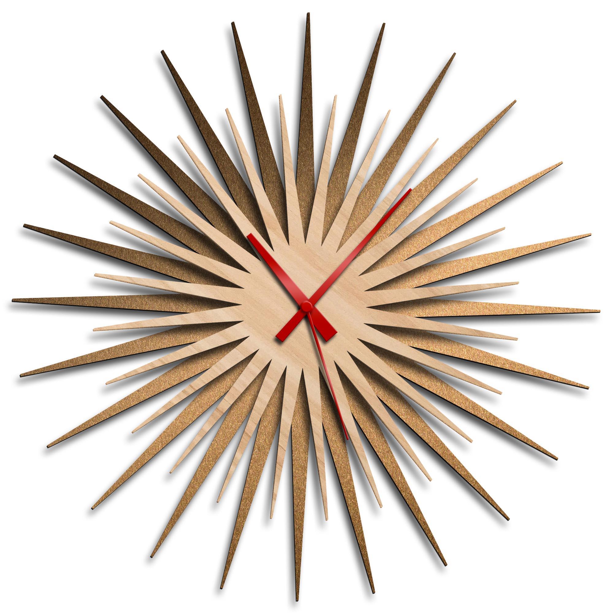 Adam Schwoeppe 'Atomic Era Clock Bronze Maple Red' Midcentury Modern Style Wall Clock