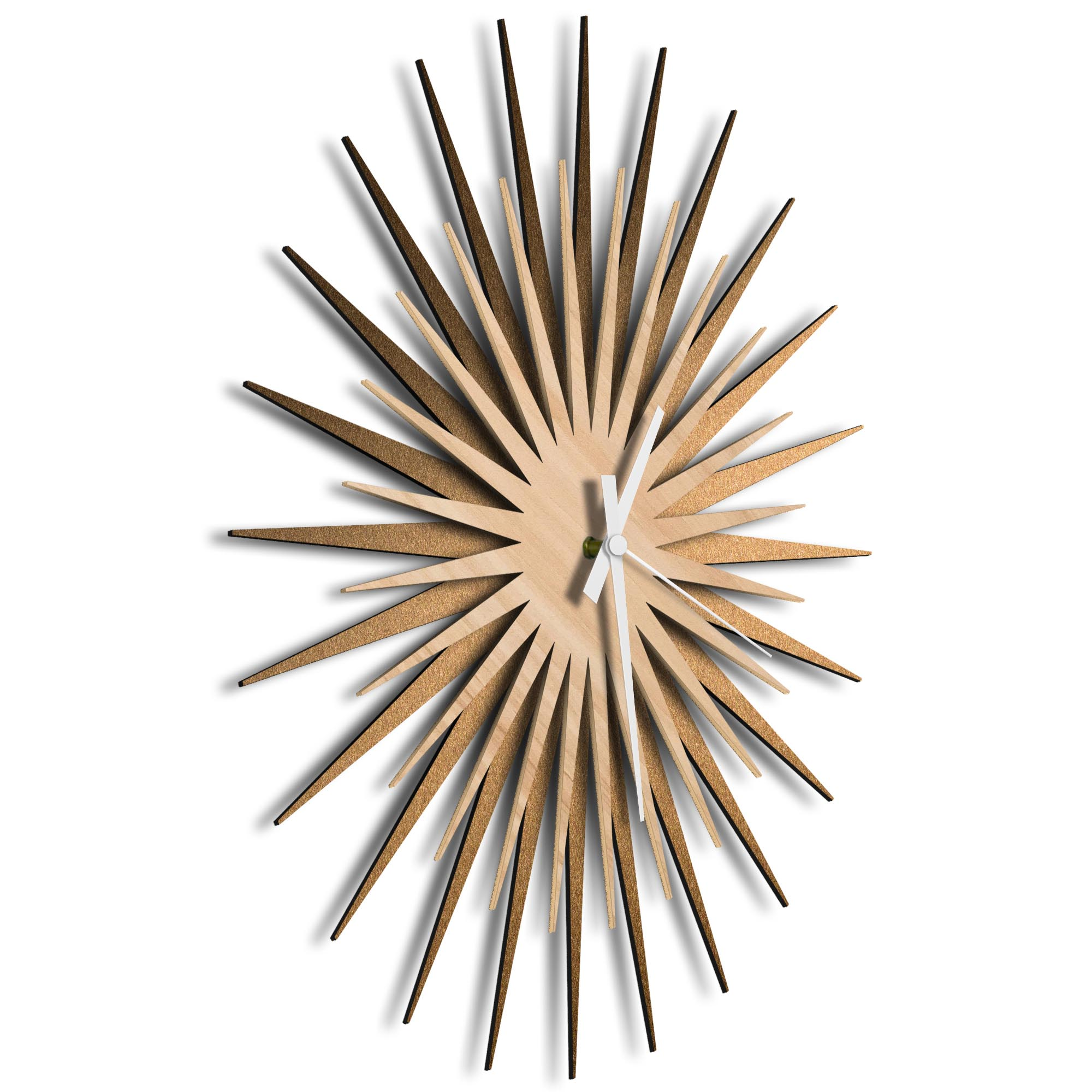 Atomic Era Clock Bronze Maple White by Adam Schwoeppe - Mid-Century Modern Clock on Brushed Bronze Polymetal - Image 2