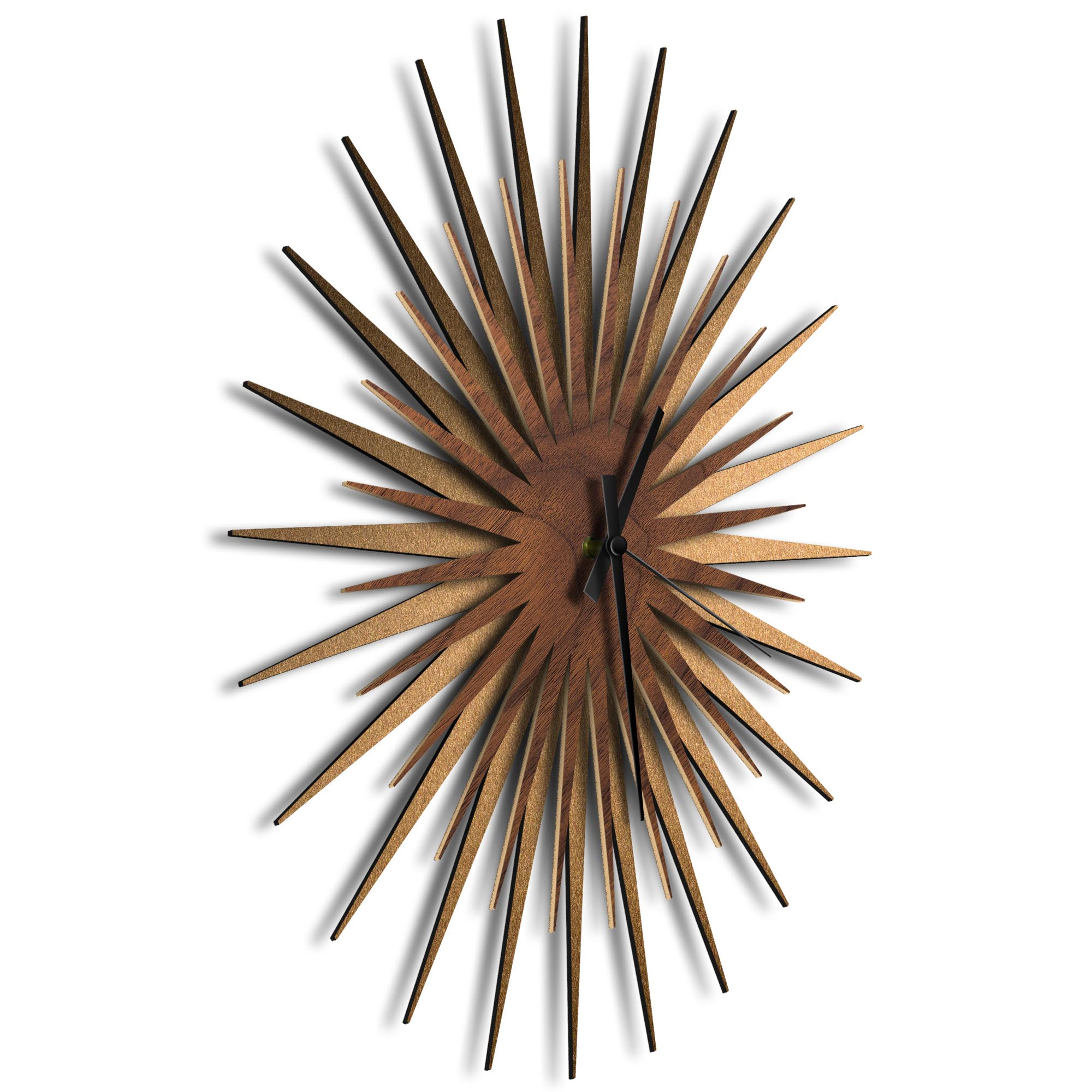Atomic Era Clock Bronze Walnut Black by Adam Schwoeppe - Mid-Century Modern Clock on Brushed Bronze Polymetal - Image 2