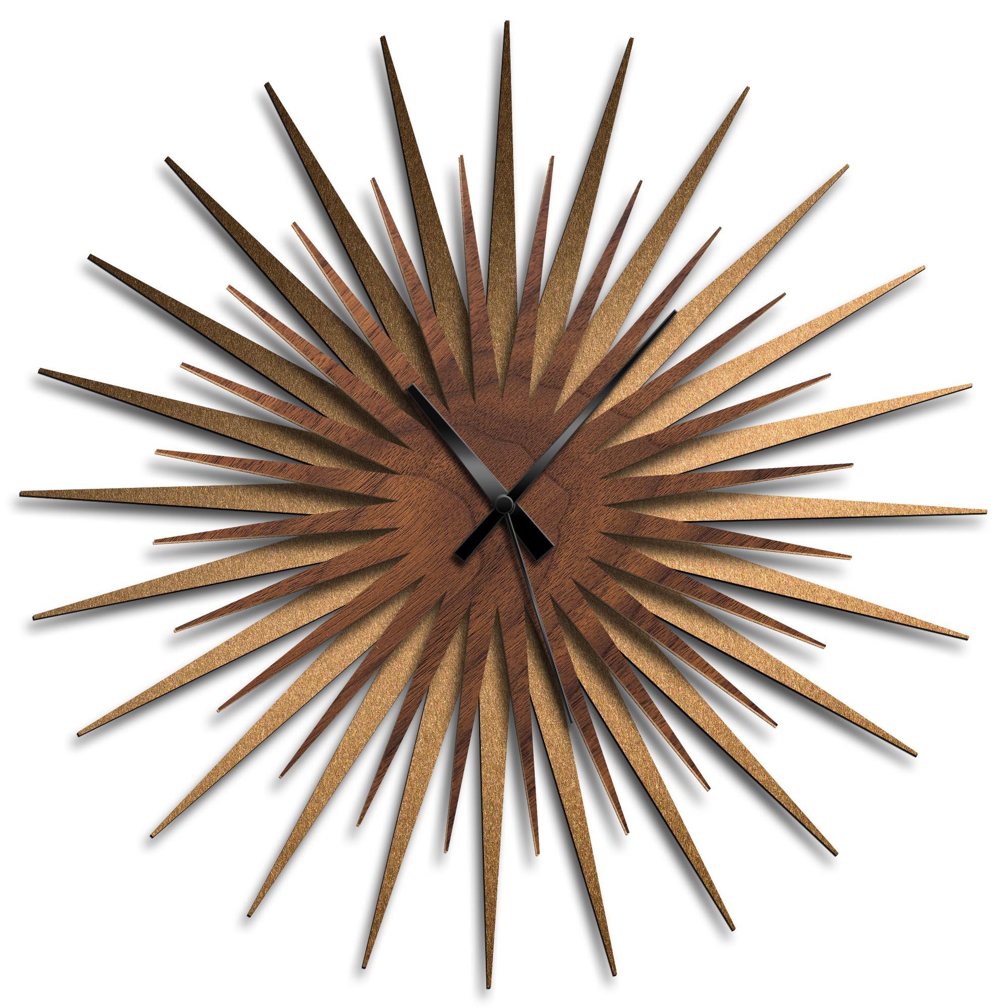Adam Schwoeppe 'Atomic Era Clock Bronze Walnut Black' Midcentury Modern Style Wall Clock