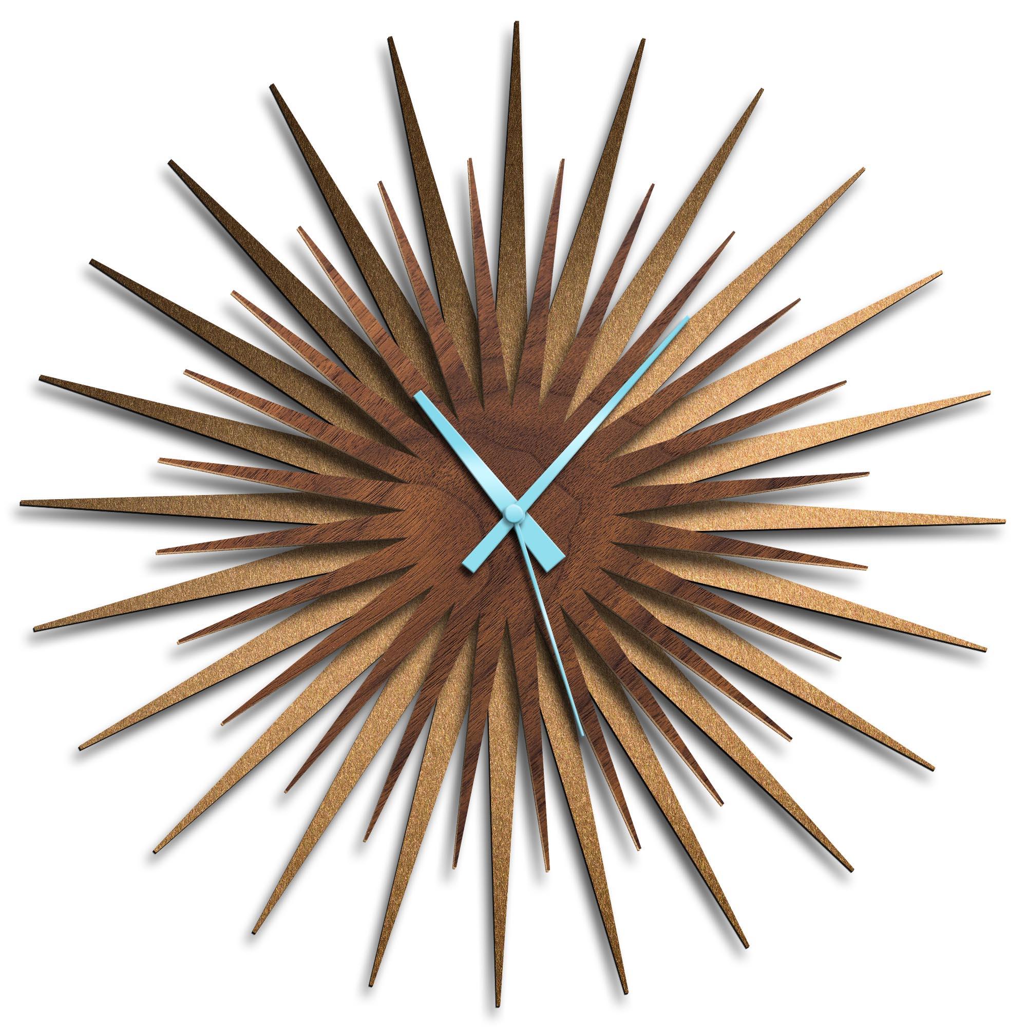 Adam Schwoeppe 'Atomic Era Clock Bronze Walnut Blue' Midcentury Modern Style Wall Clock