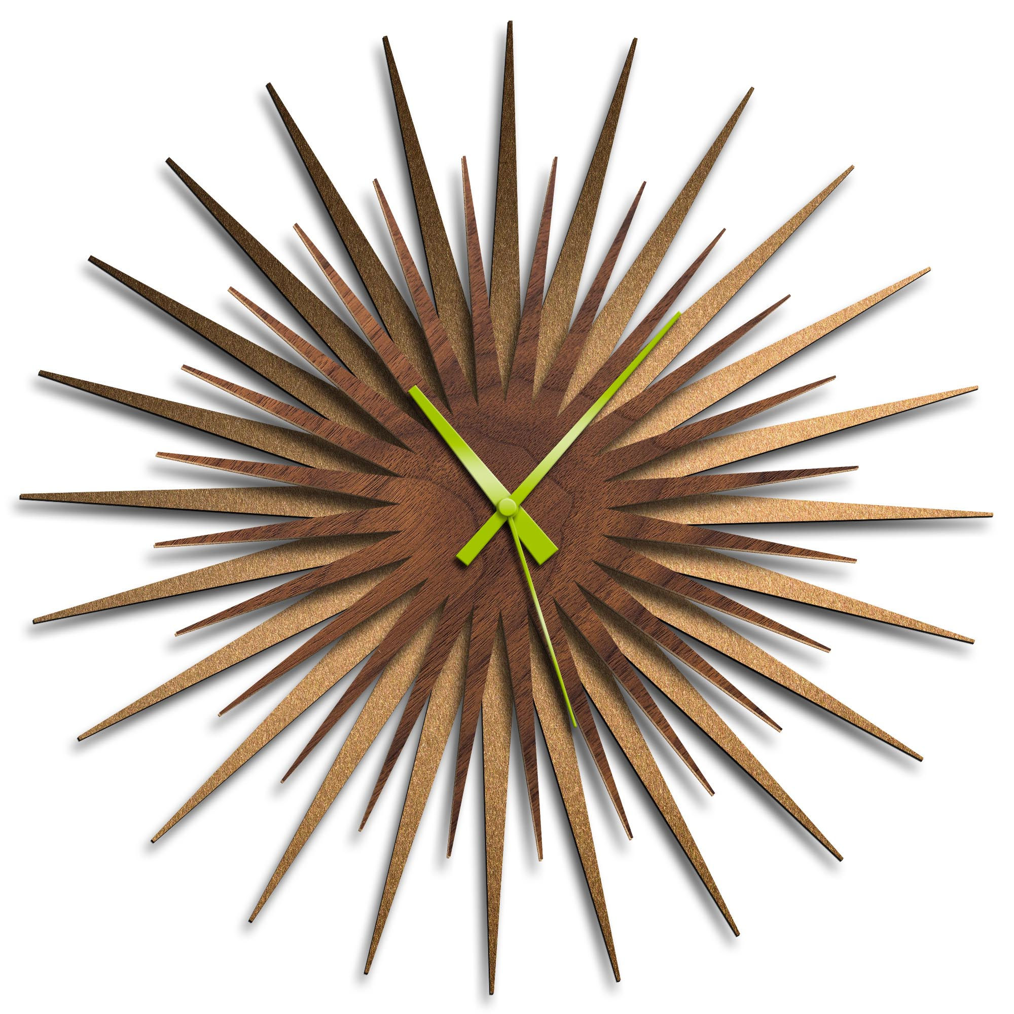 Adam Schwoeppe 'Atomic Era Clock Bronze Walnut Green' Midcentury Modern Style Wall Clock