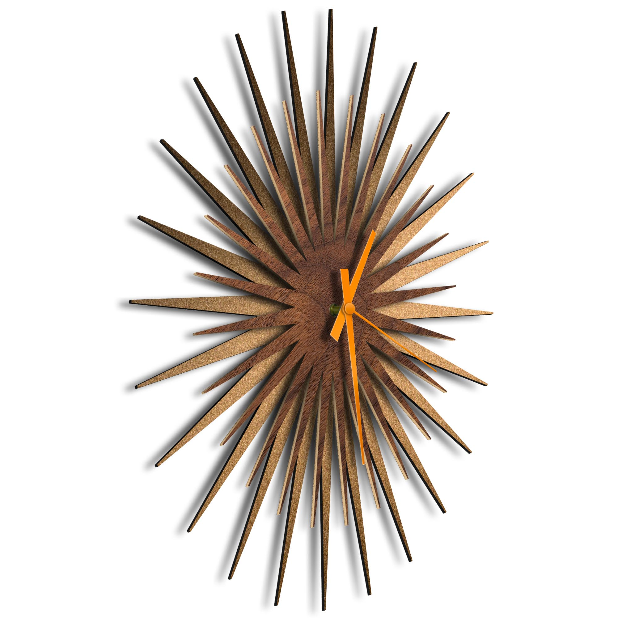 Atomic Era Clock Bronze Walnut Orange by Adam Schwoeppe - Mid-Century Modern Clock on Brushed Bronze Polymetal - Image 2