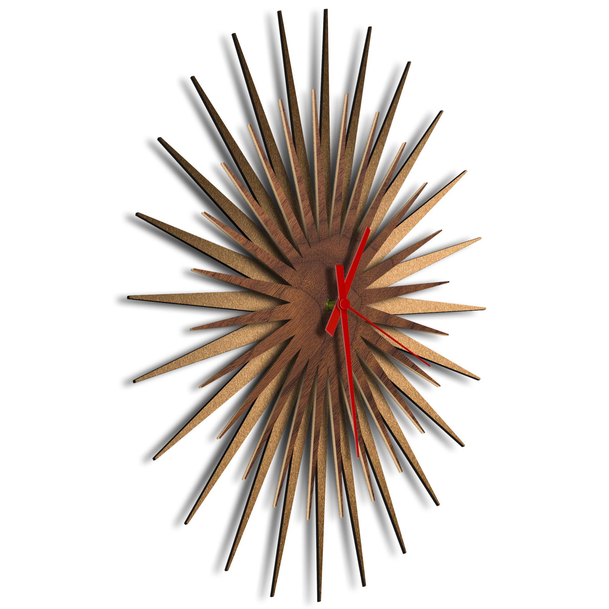 Atomic Era Clock Bronze Walnut Red by Adam Schwoeppe - Mid-Century Modern Clock on Brushed Bronze Polymetal - Image 2