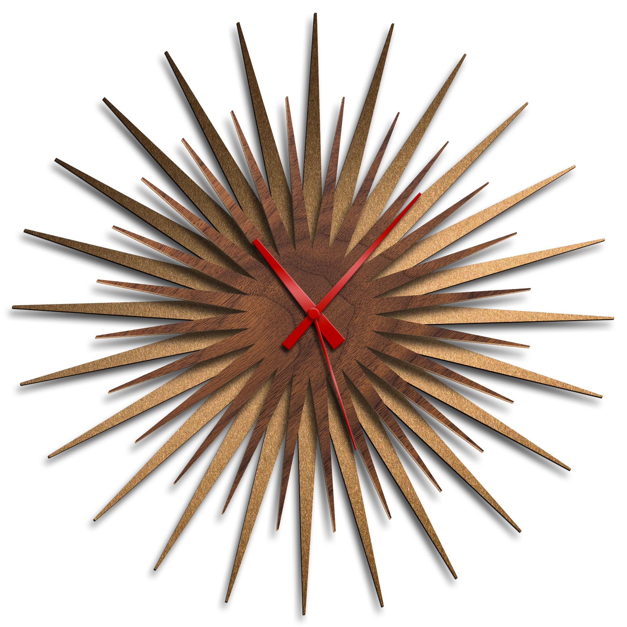 Adam Schwoeppe 'Atomic Era Clock Bronze Walnut Red' Midcentury Modern Style Wall Clock