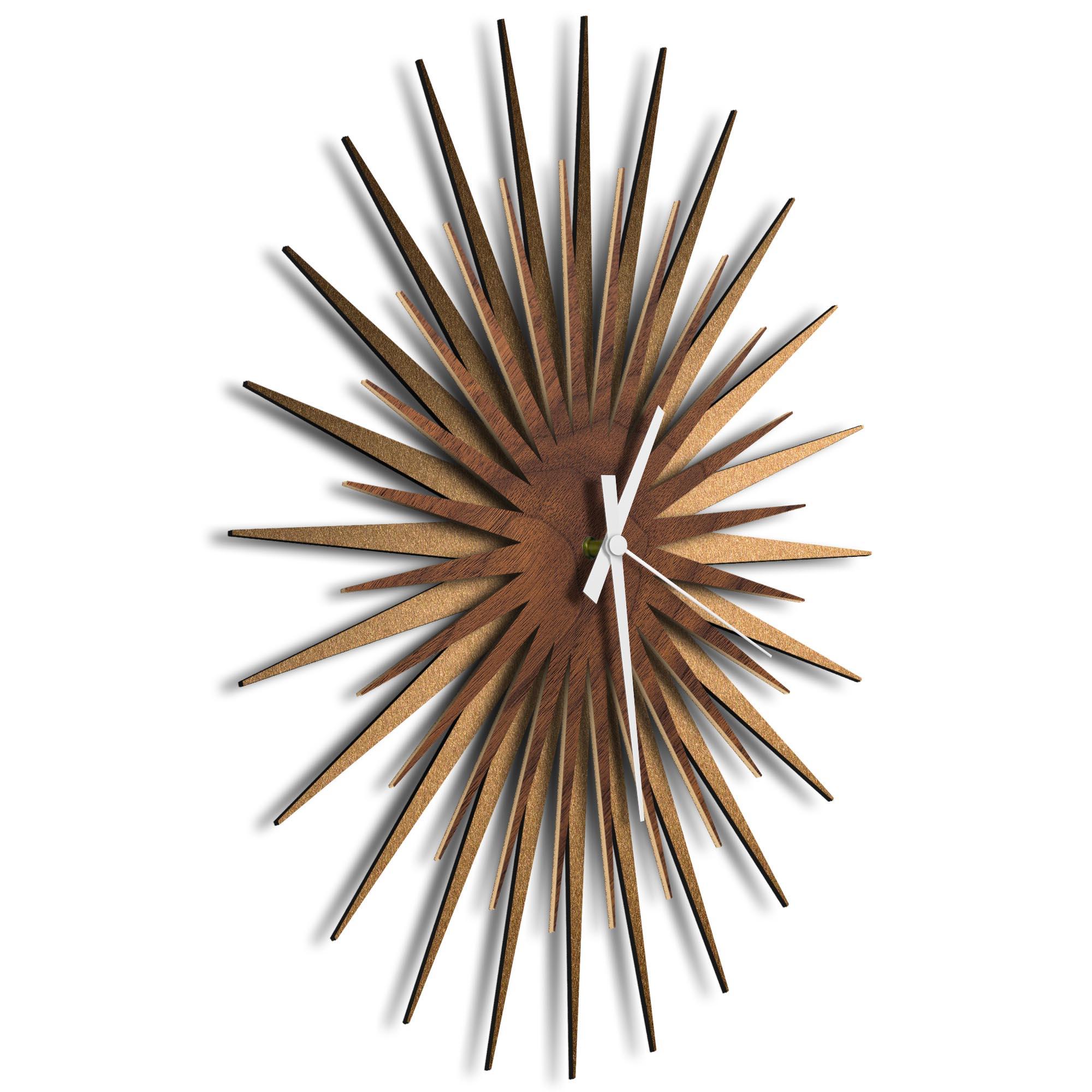Atomic Era Clock Bronze Walnut White by Adam Schwoeppe - Mid-Century Modern Clock on Brushed Bronze Polymetal - Image 2