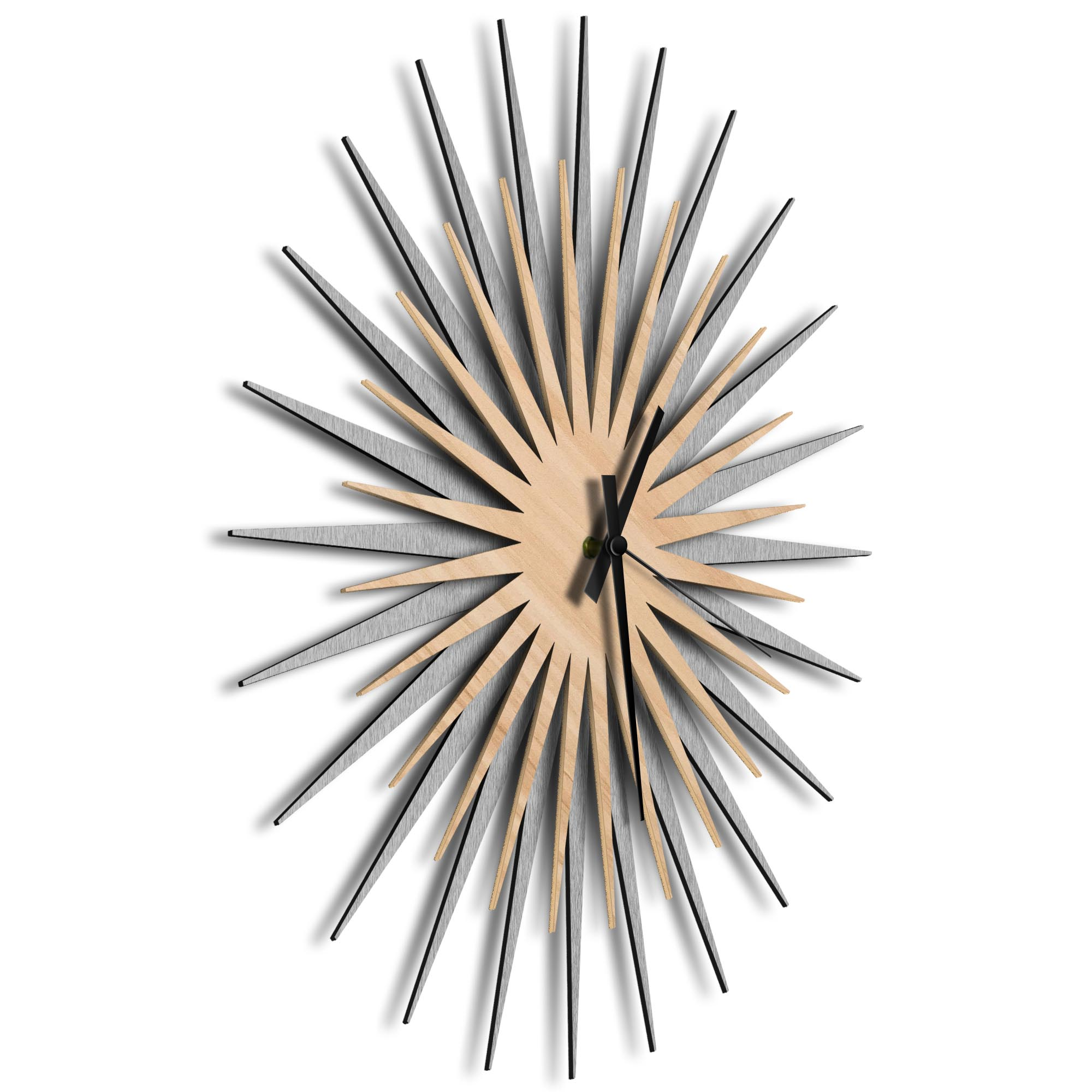 Atomic Era Clock Silver Maple Black by Adam Schwoeppe - Mid-Century Modern Clock on Brushed Silver Polymetal - Image 2