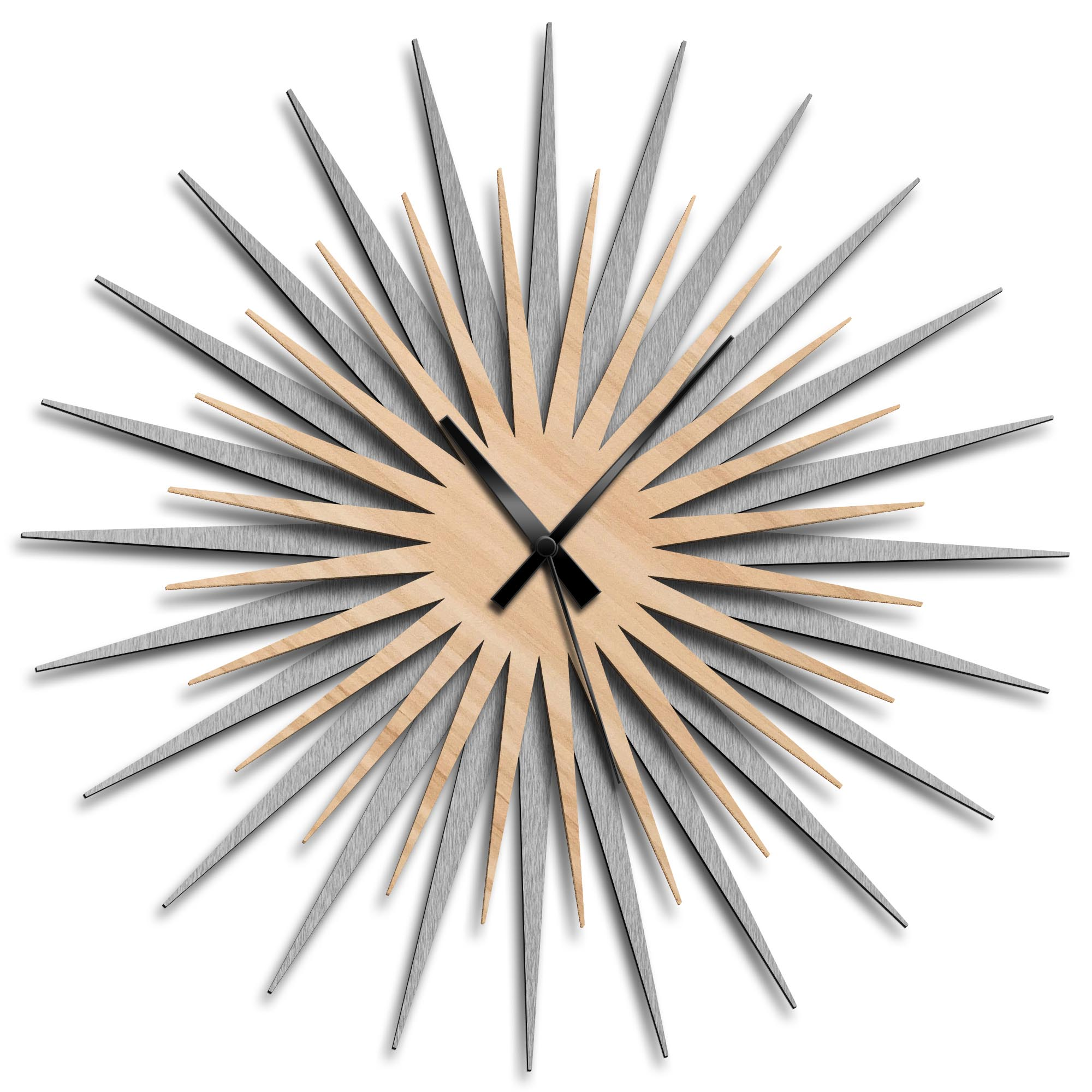 Adam Schwoeppe 'Atomic Era Clock Silver Maple Black' Midcentury Modern Style Wall Clock