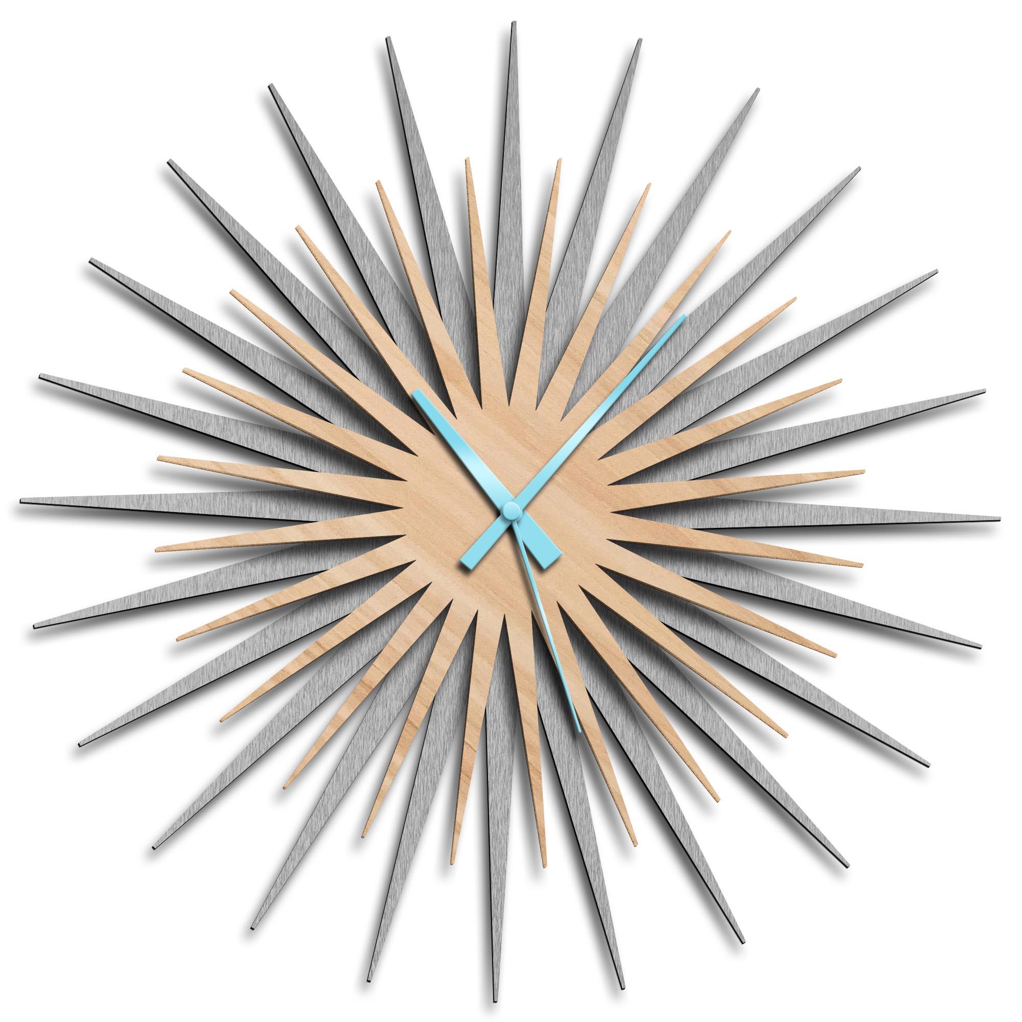 Adam Schwoeppe 'Atomic Era Clock Silver Maple Blue' Midcentury Modern Style Wall Clock