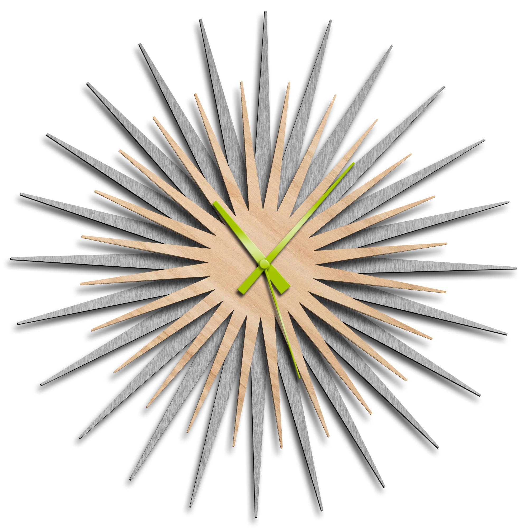 Adam Schwoeppe 'Atomic Era Clock Silver Maple Green' Midcentury Modern Style Wall Clock