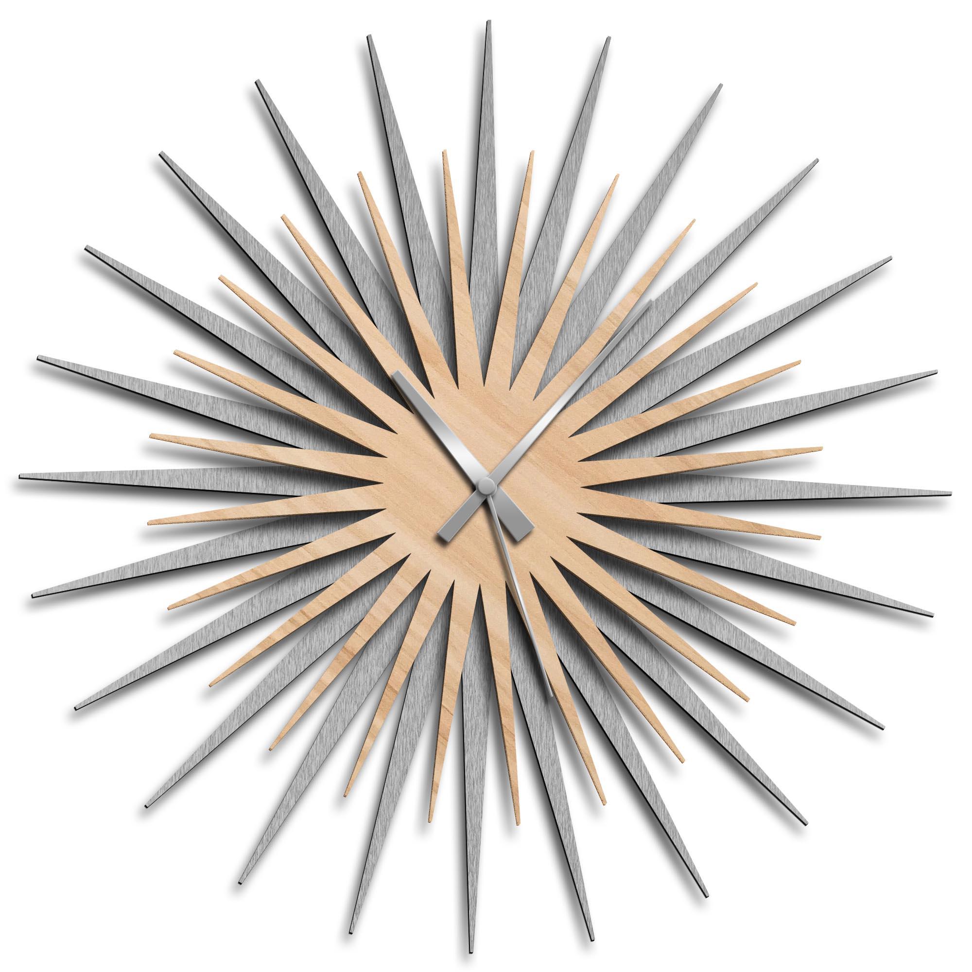 Adam Schwoeppe 'Atomic Era Clock Silver Maple Grey' Midcentury Modern Style Wall Clock
