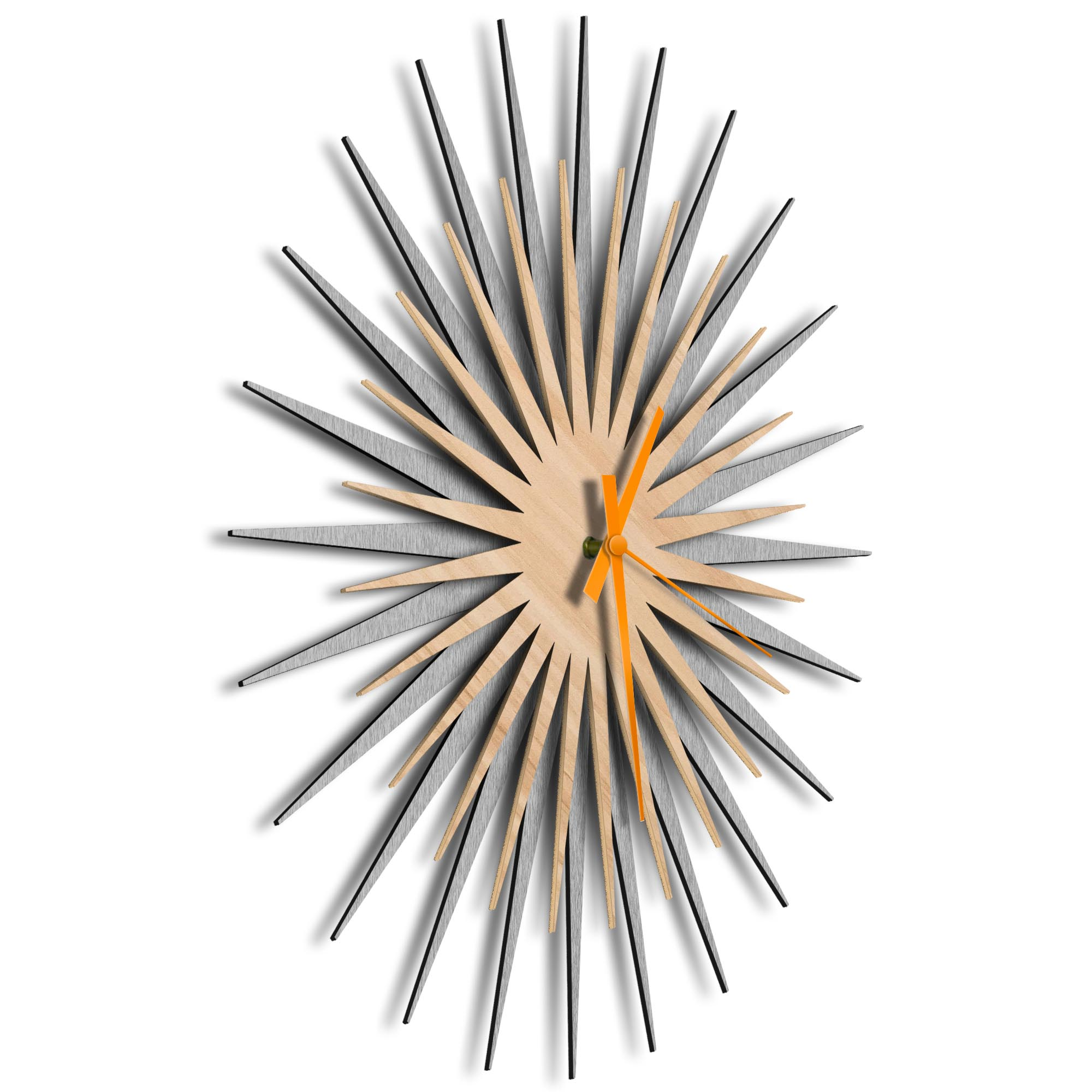 Atomic Era Clock Silver Maple Orange by Adam Schwoeppe - Mid-Century Modern Clock on Brushed Silver Polymetal - Image 2