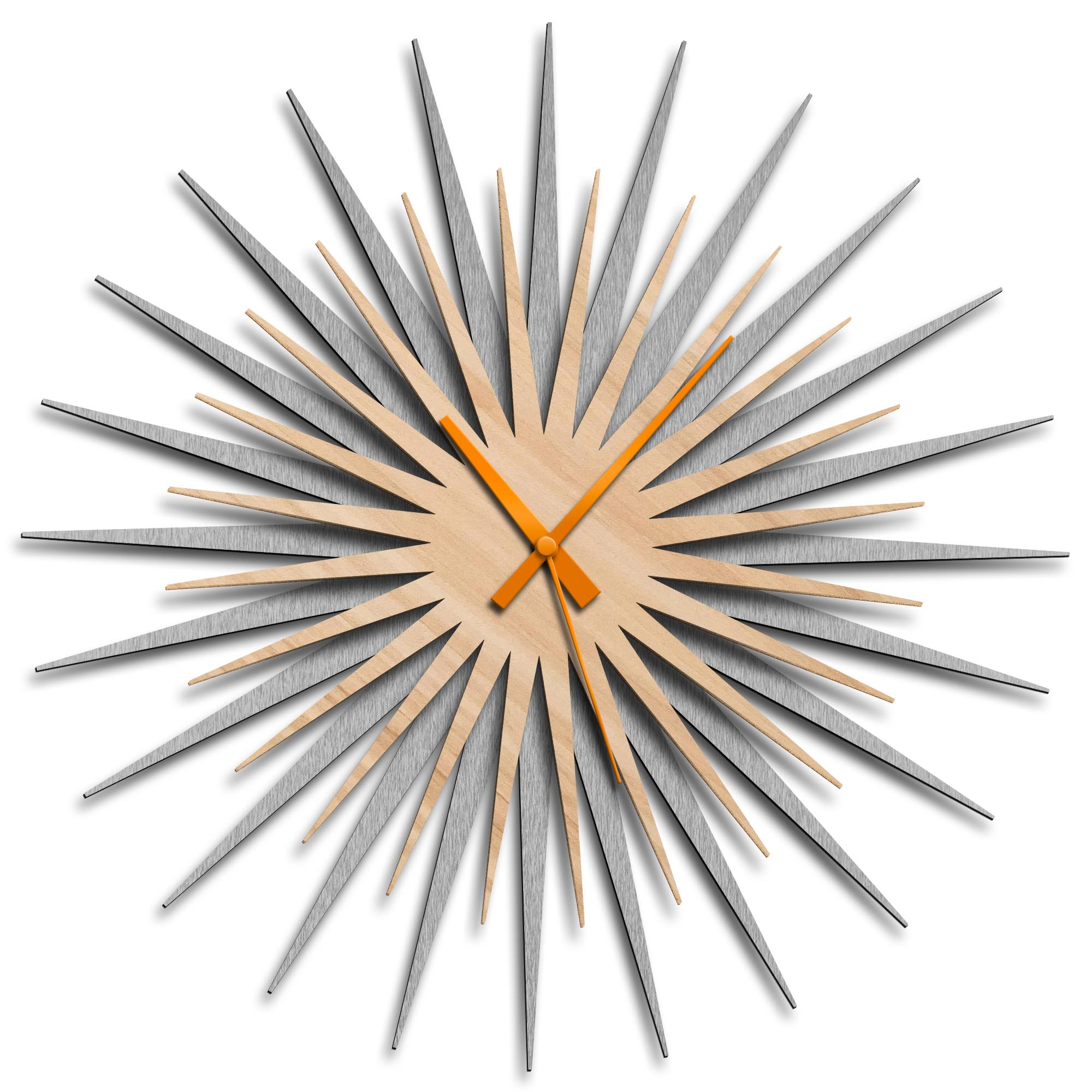 Adam Schwoeppe 'Atomic Era Clock Silver Maple Orange' Midcentury Modern Style Wall Clock