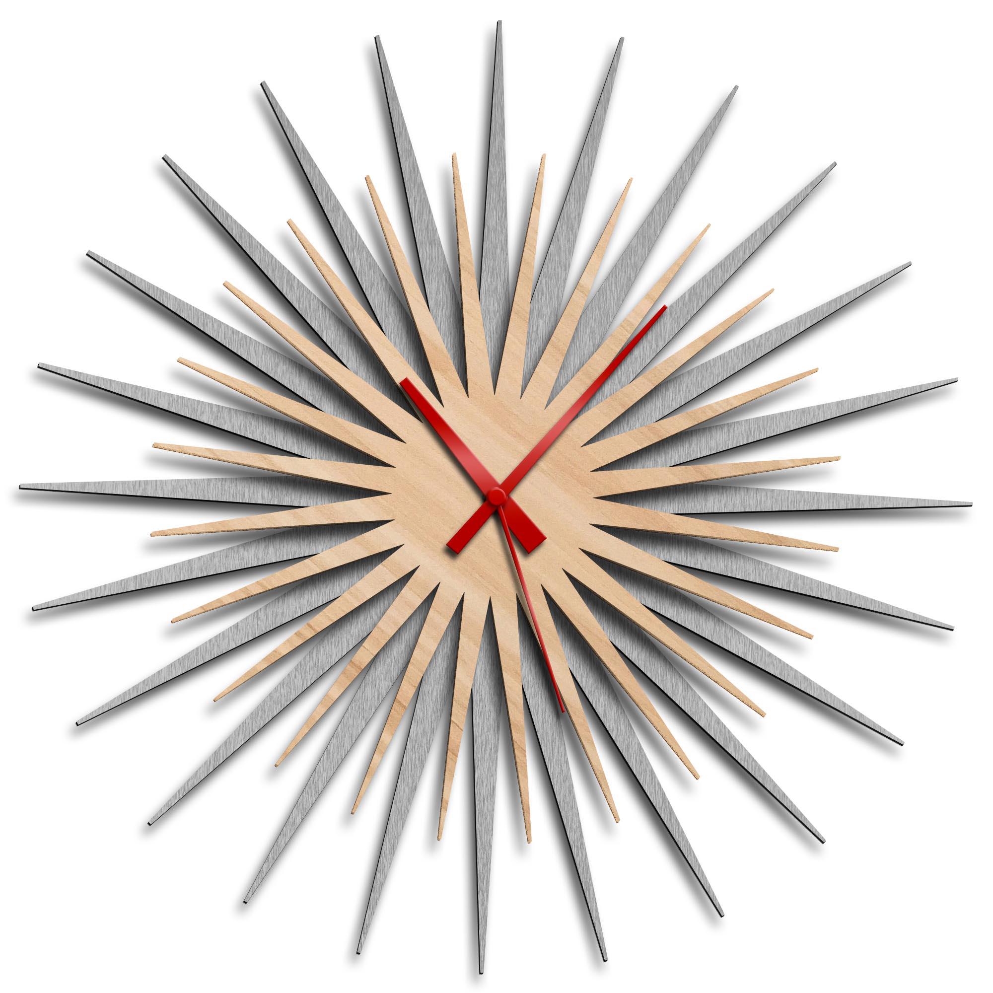 Adam Schwoeppe 'Atomic Era Clock Silver Maple Red' Midcentury Modern Style Wall Clock
