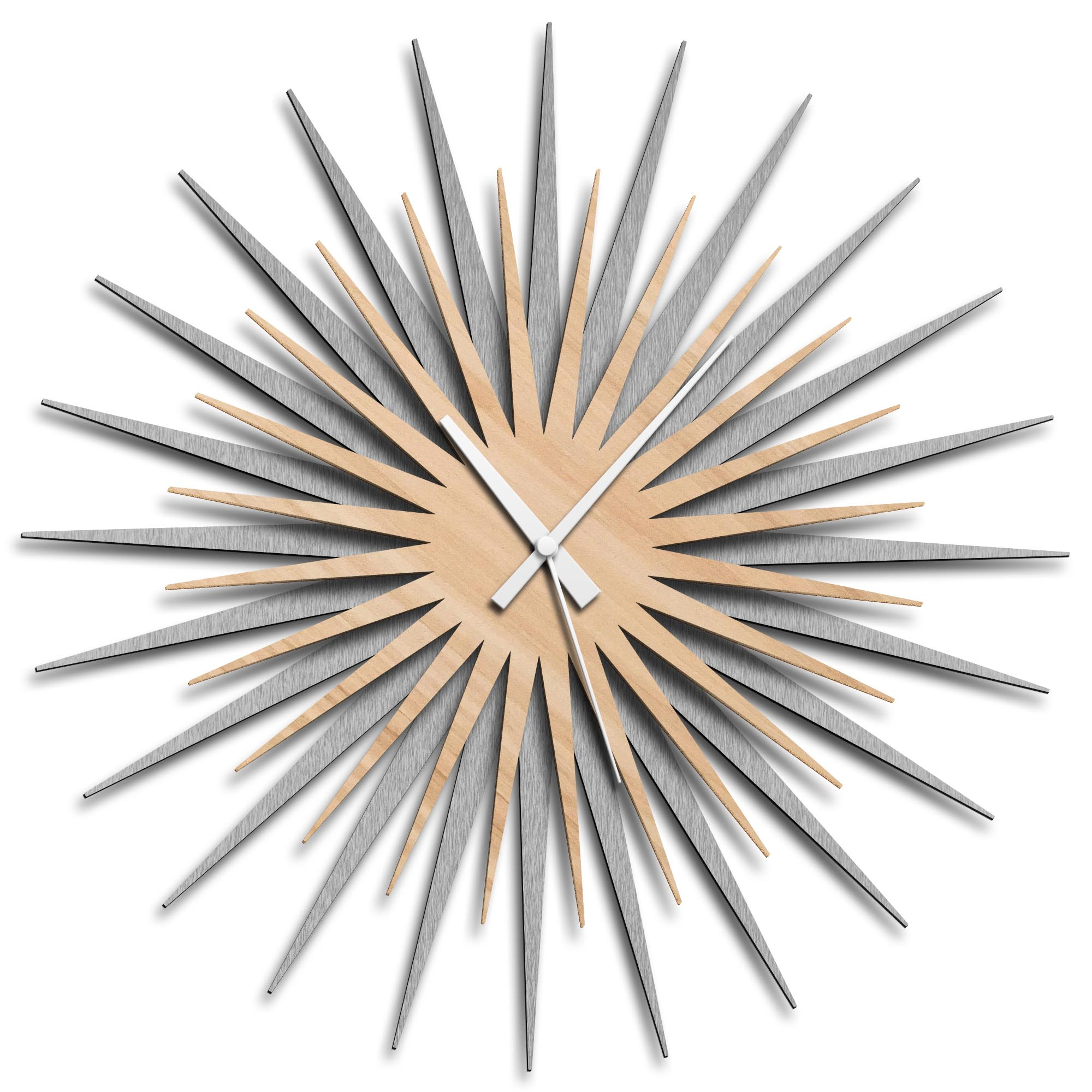 Adam Schwoeppe 'Atomic Era Clock Silver Maple White' Midcentury Modern Style Wall Clock