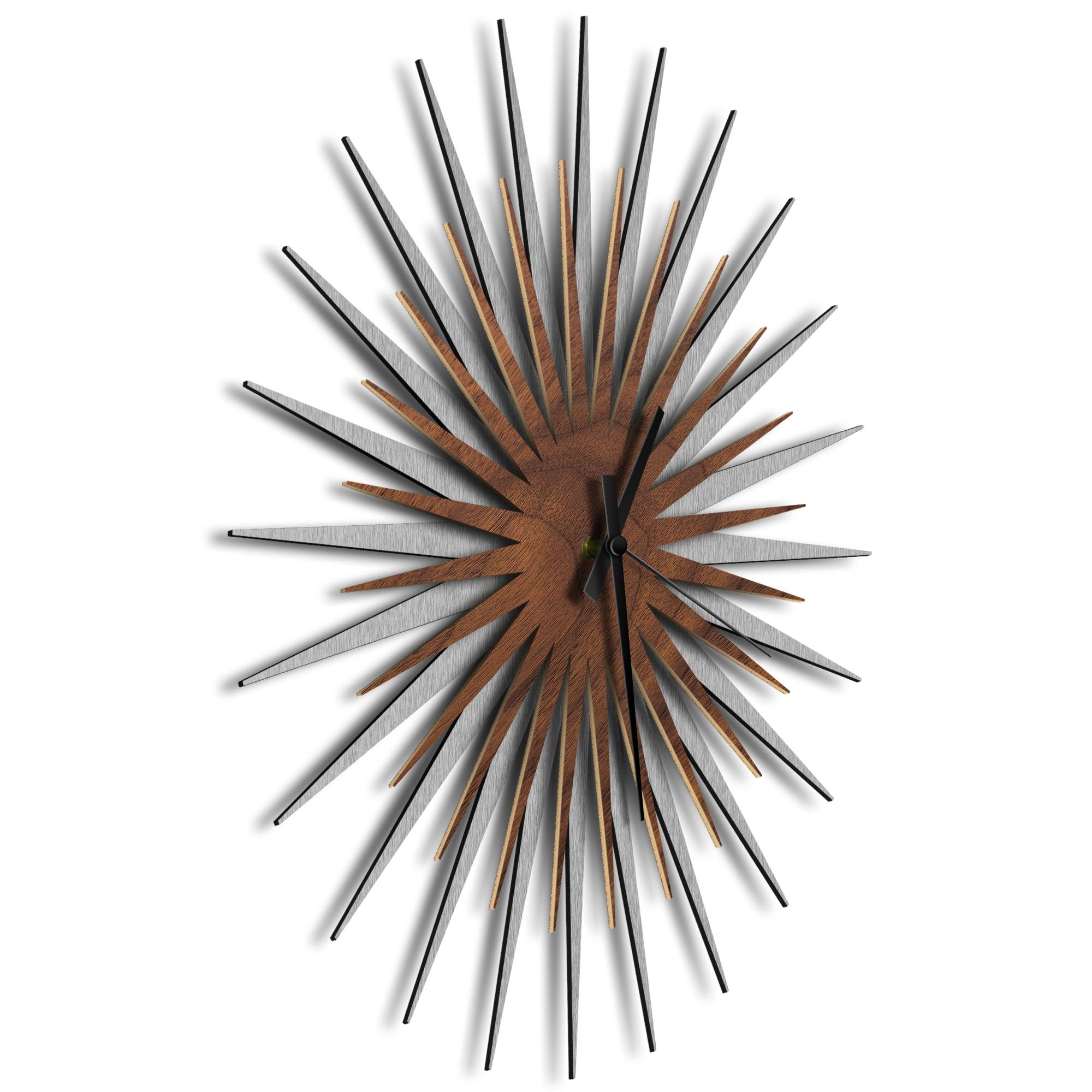 Atomic Era Clock Silver Walnut Black by Adam Schwoeppe - Mid-Century Modern Clock on Brushed Silver Polymetal - Image 2
