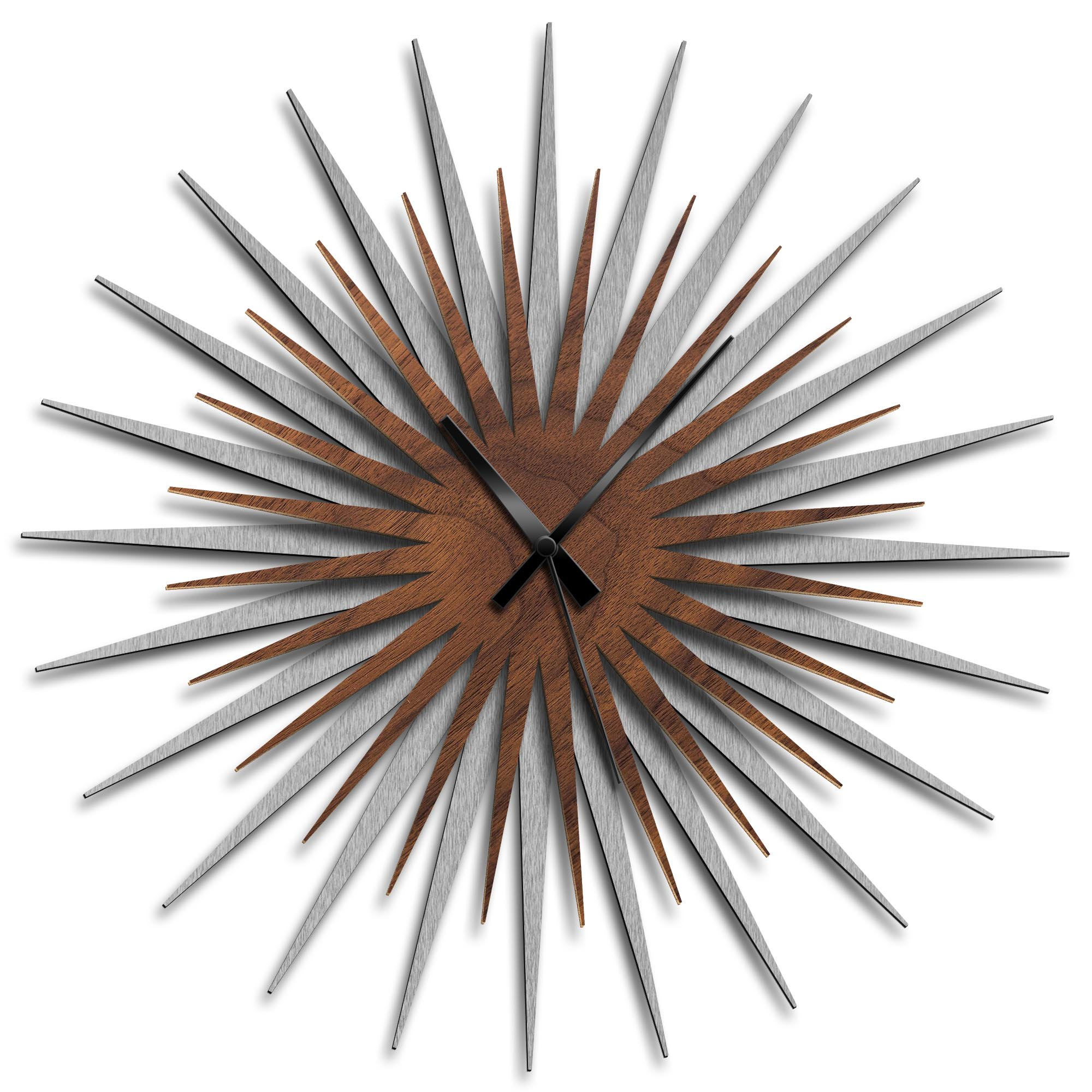 Adam Schwoeppe 'Atomic Era Clock Silver Walnut Black' Midcentury Modern Style Wall Clock