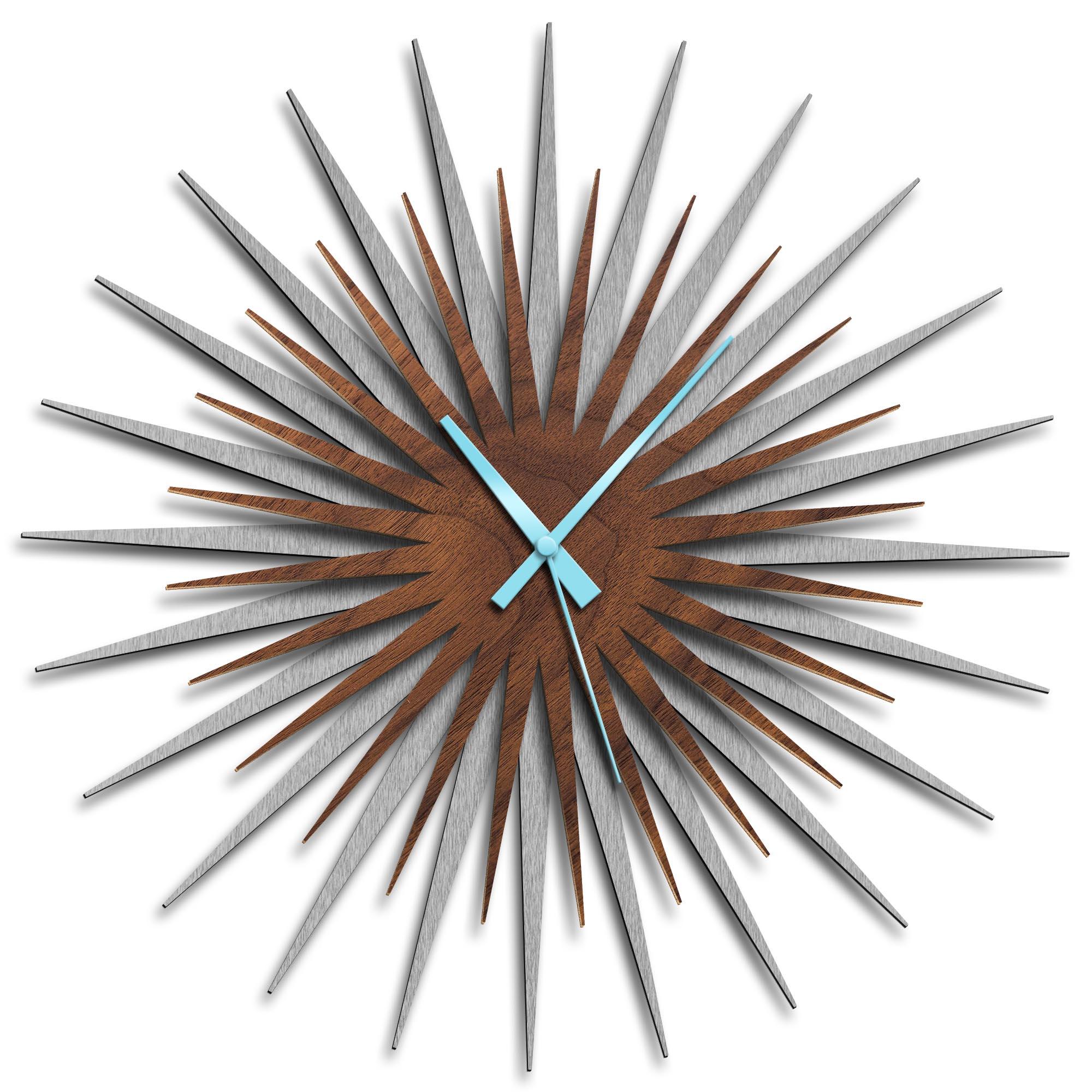 Adam Schwoeppe 'Atomic Era Clock Silver Walnut Blue' Midcentury Modern Style Wall Clock