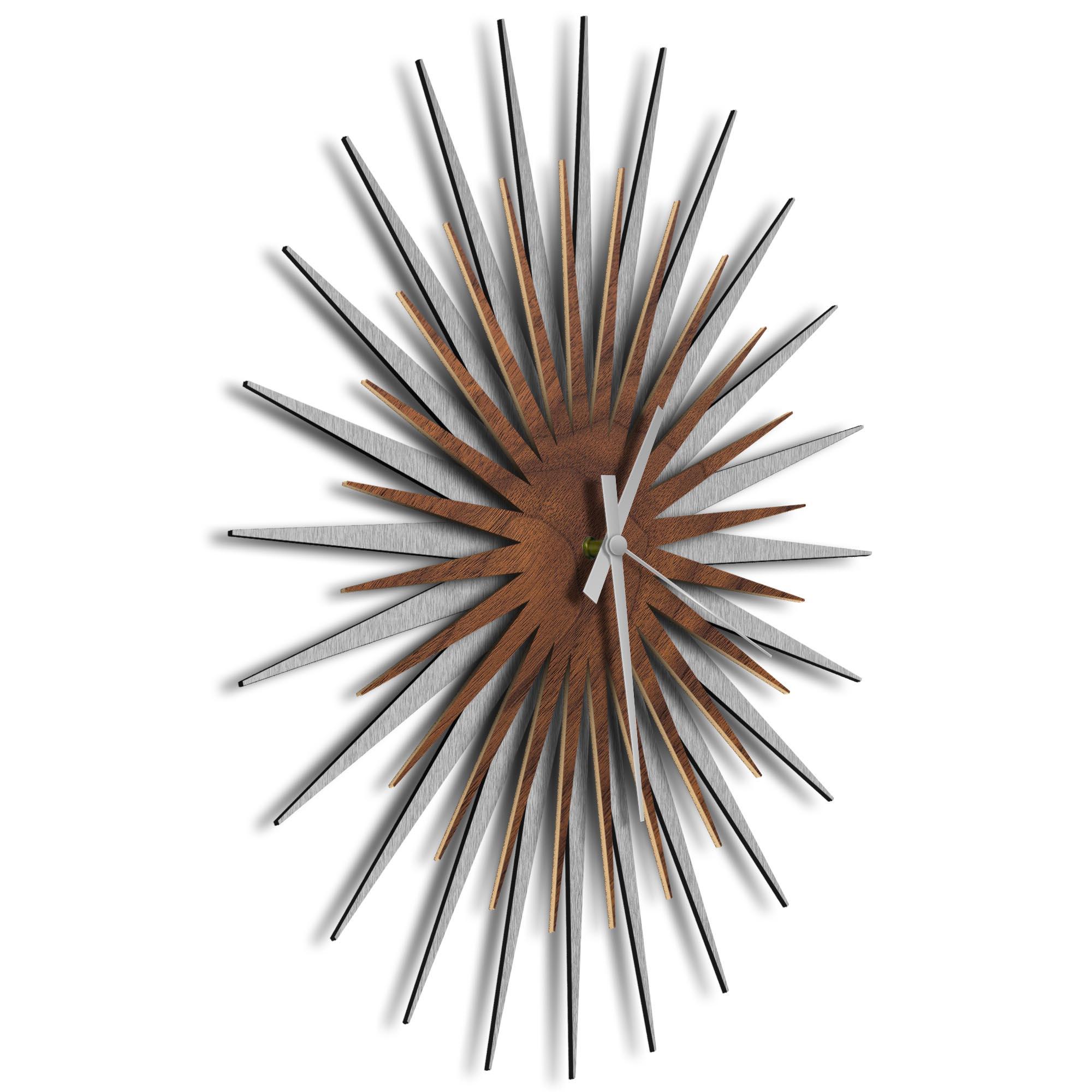 Atomic Era Clock Silver Walnut Grey by Adam Schwoeppe - Mid-Century Modern Clock on Brushed Silver Polymetal - Image 2