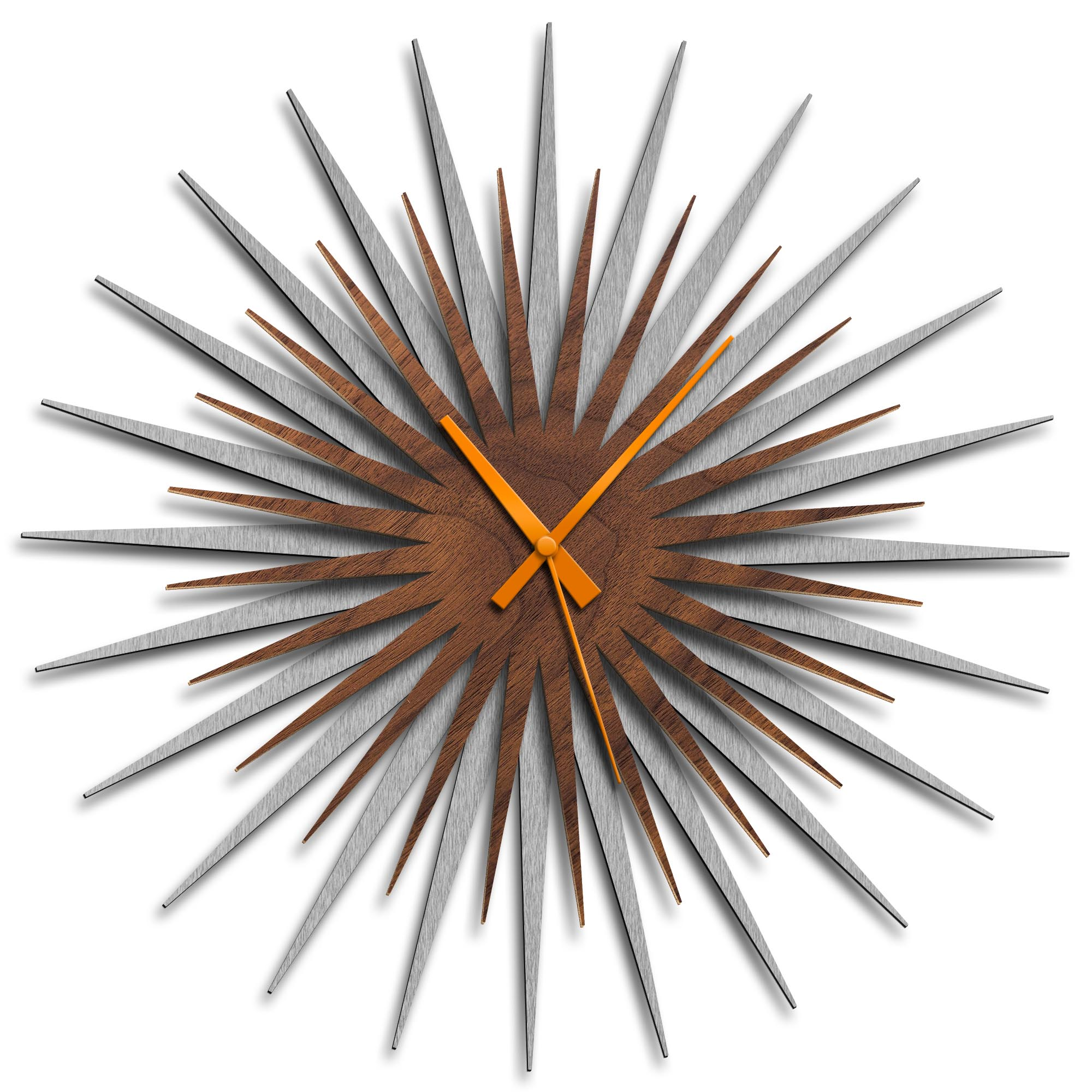 Adam Schwoeppe 'Atomic Era Clock Silver Walnut Orange' Midcentury Modern Style Wall Clock