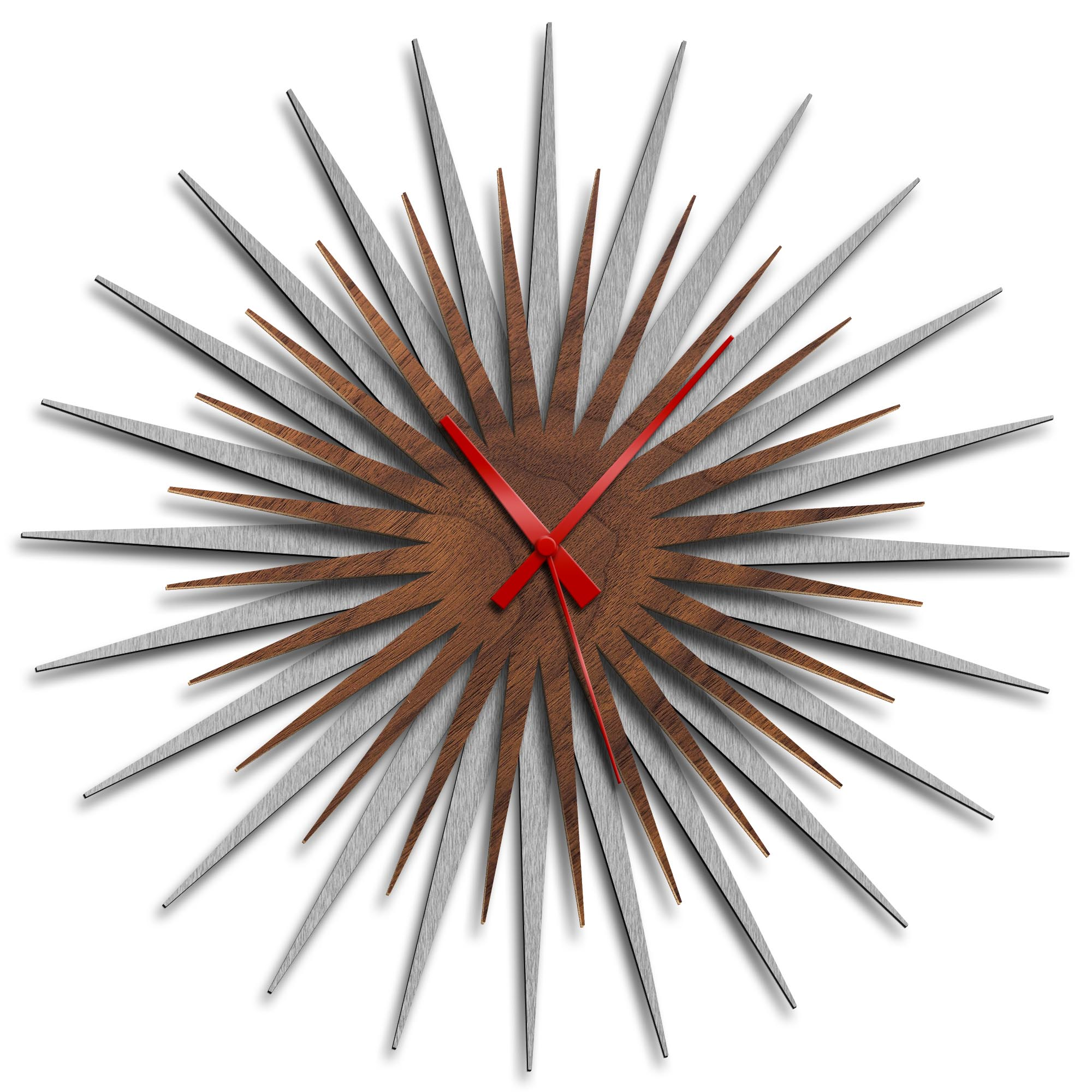 Adam Schwoeppe 'Atomic Era Clock Silver Walnut Red' Midcentury Modern Style Wall Clock