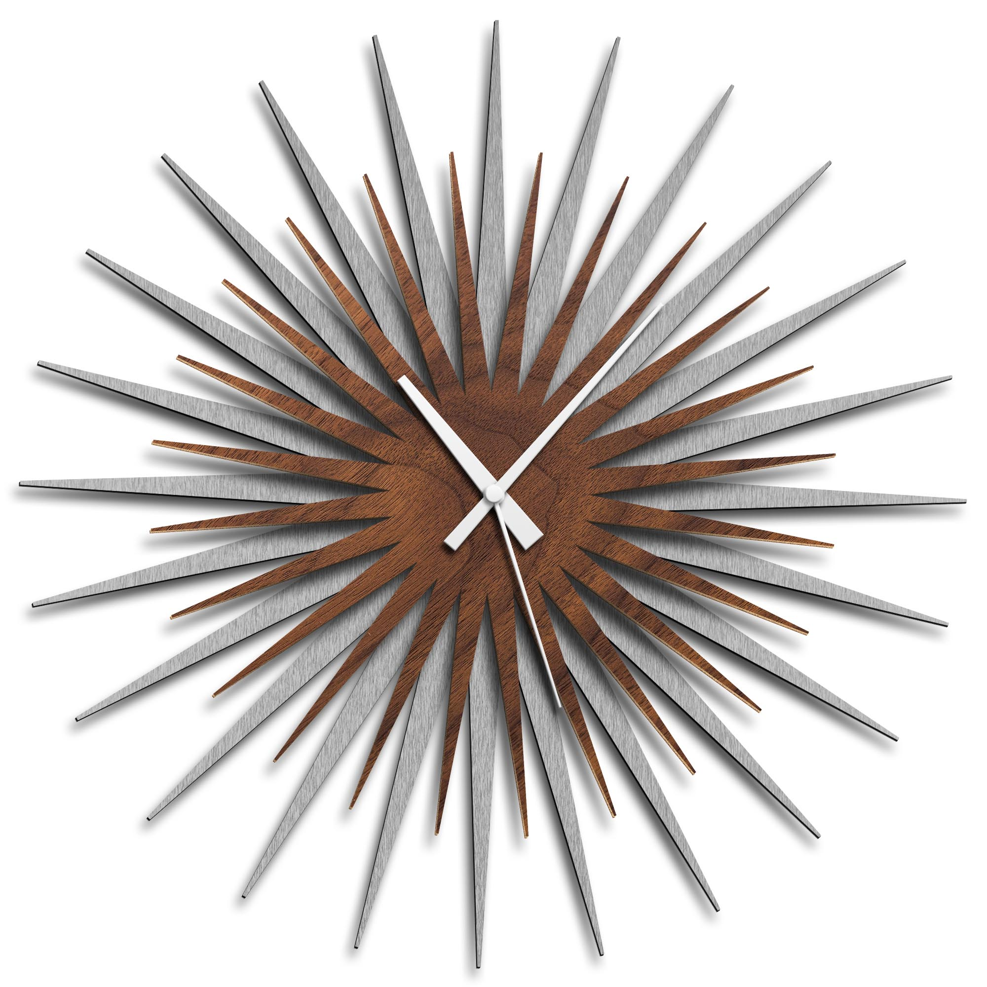 Adam Schwoeppe 'Atomic Era Clock Silver Walnut White' Midcentury Modern Style Wall Clock