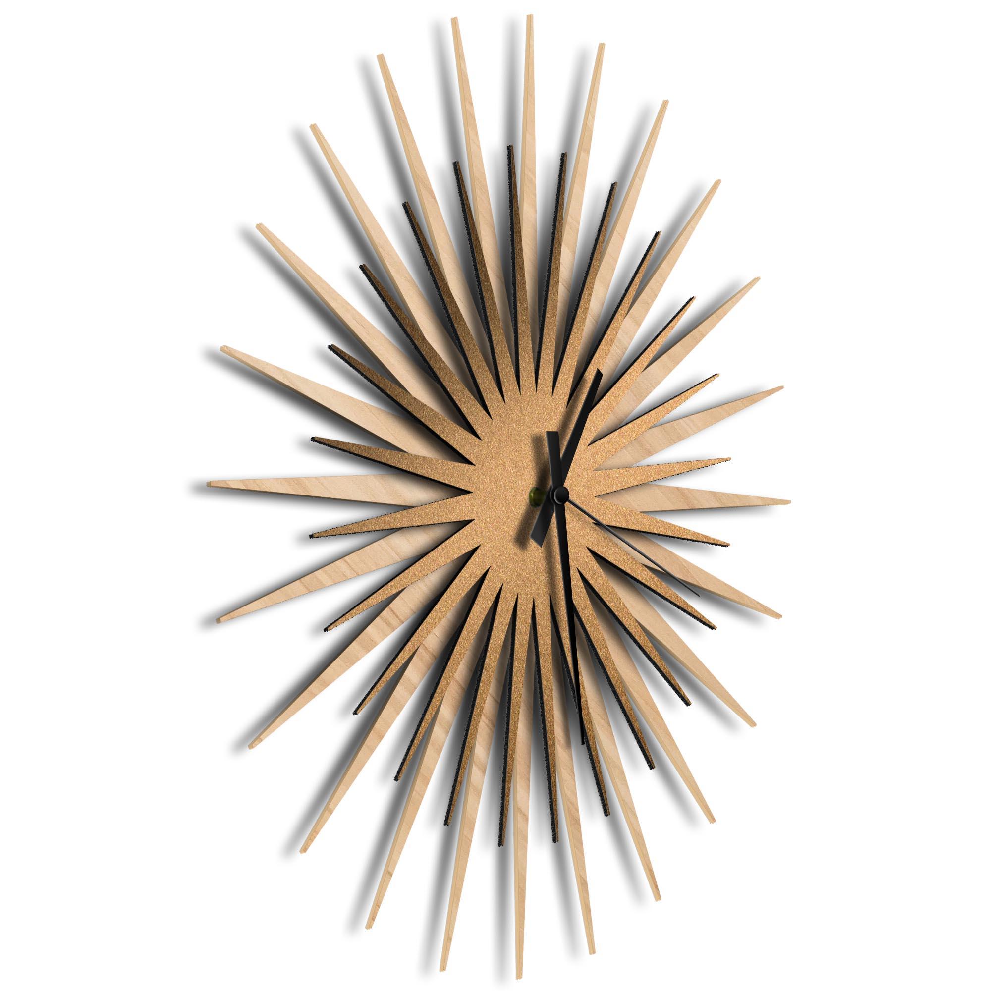 Atomic Era Clock Maple Bronze Black by Adam Schwoeppe - Mid-Century Modern Clock on Brushed Maple Polymetal - Image 2