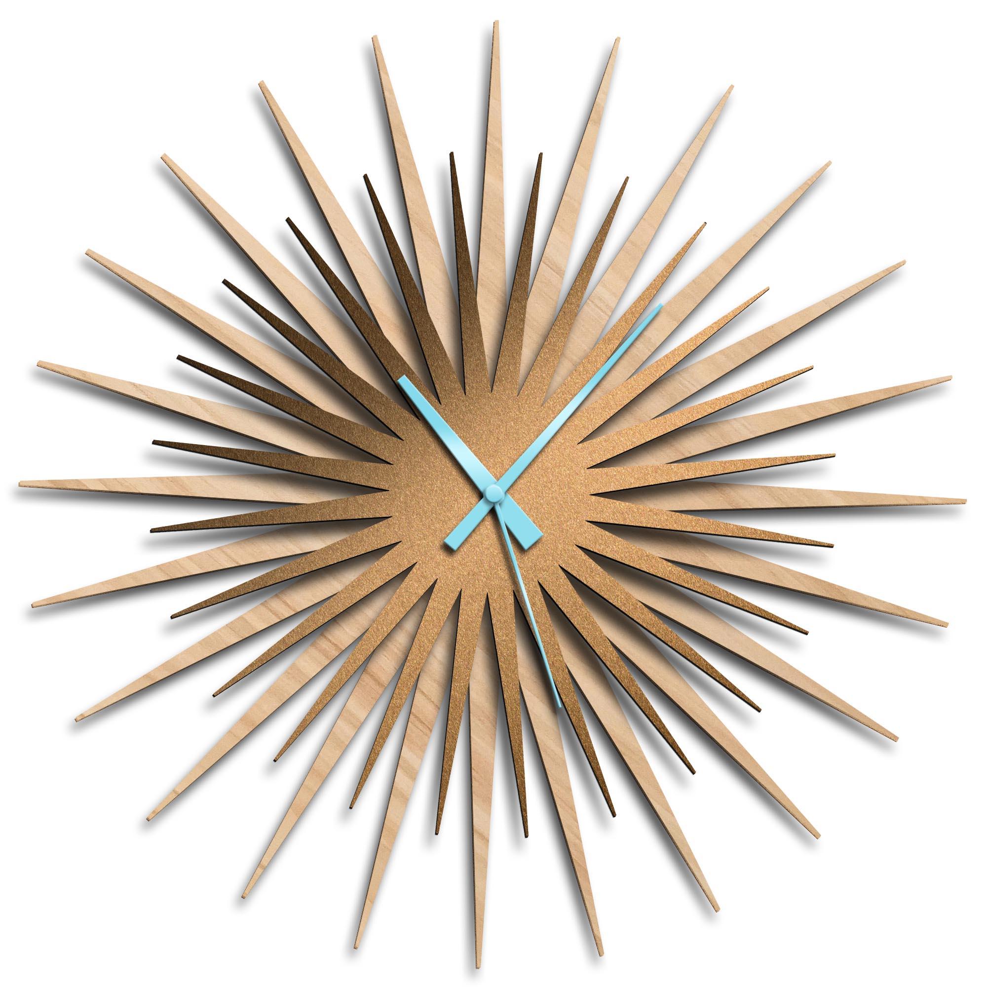 Adam Schwoeppe 'Atomic Era Clock Maple Bronze Blue' Midcentury Modern Style Wall Clock