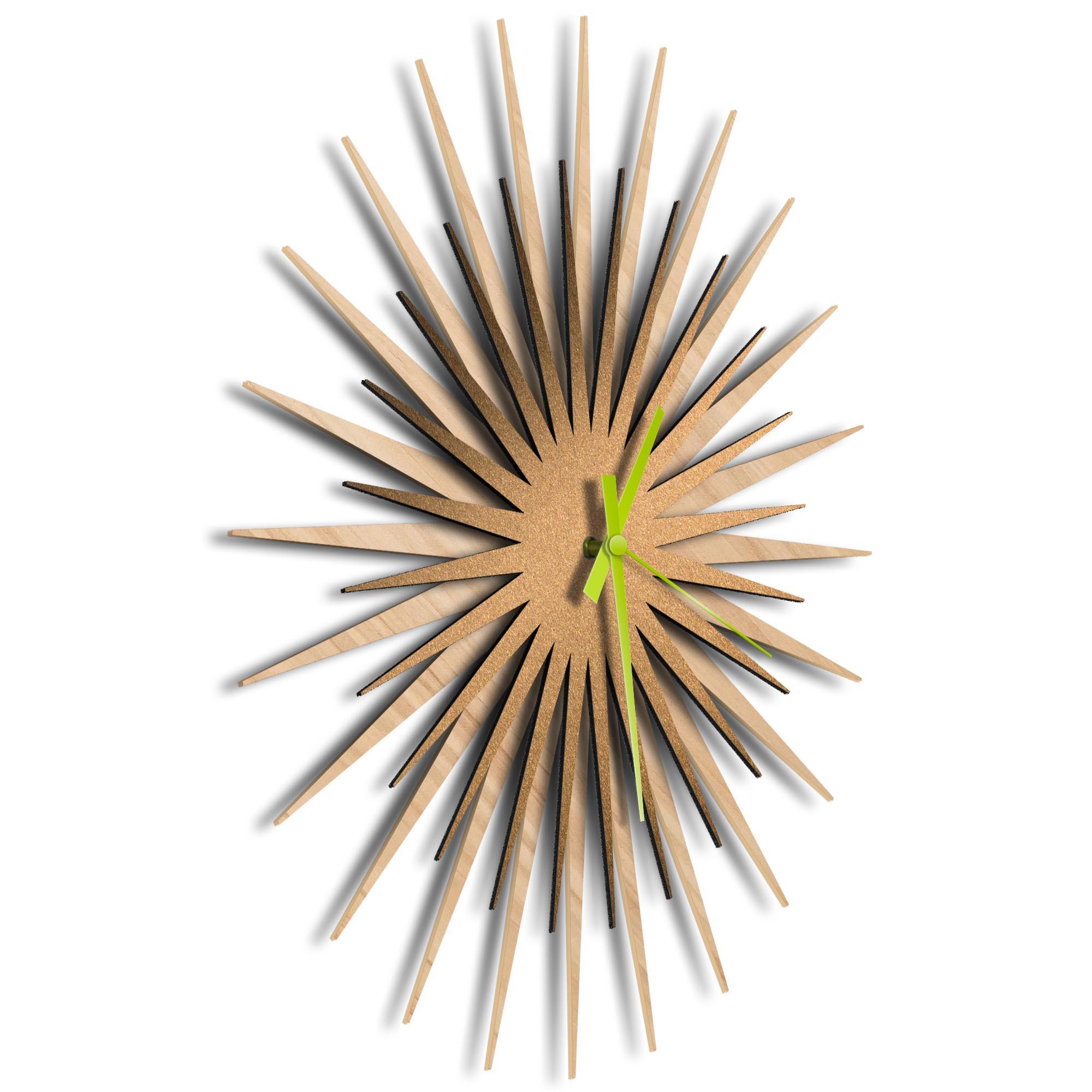 Atomic Era Clock Maple Bronze Green by Adam Schwoeppe - Mid-Century Modern Clock on Brushed Maple Polymetal - Image 2