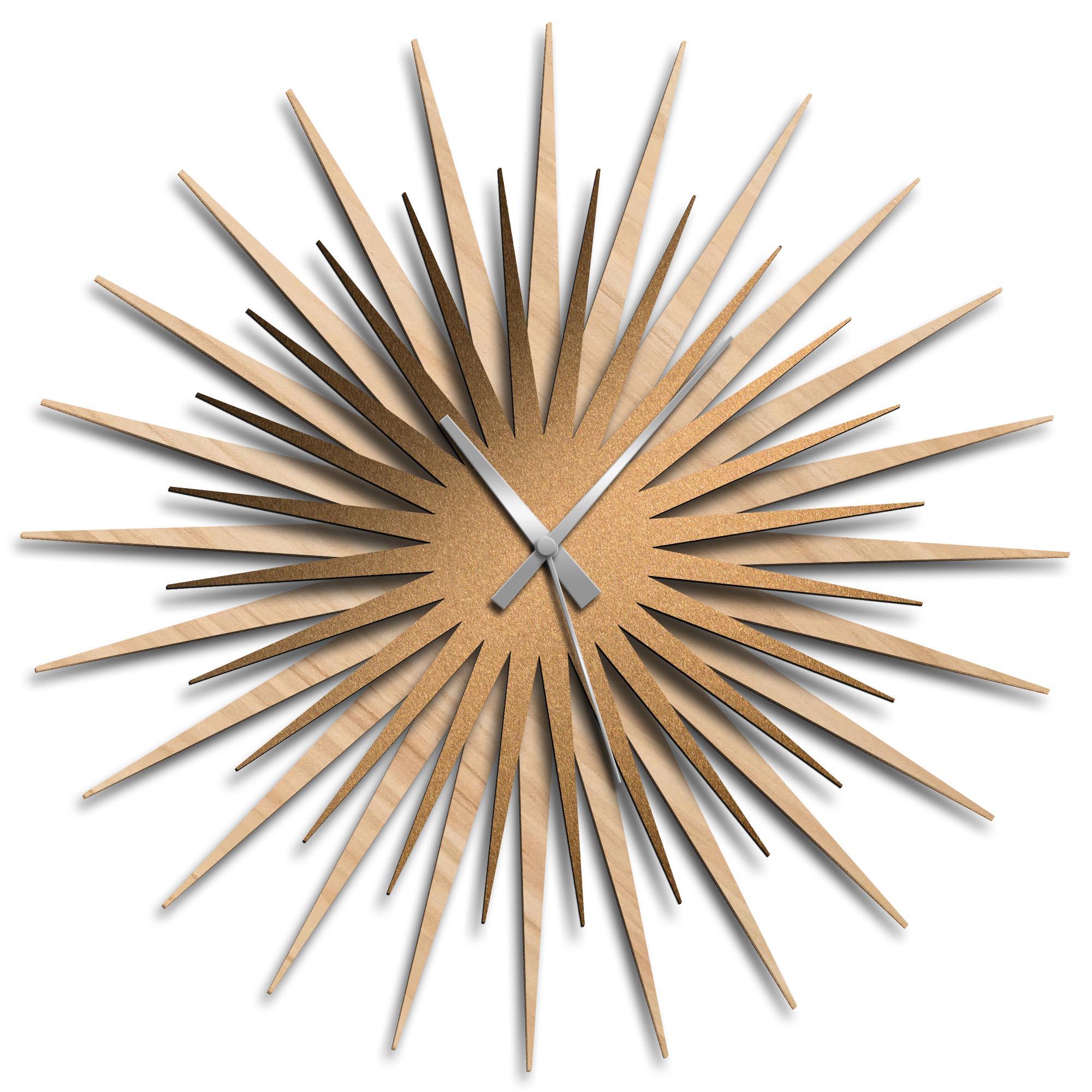 Adam Schwoeppe 'Atomic Era Clock Maple Bronze Grey' Midcentury Modern Style Wall Clock