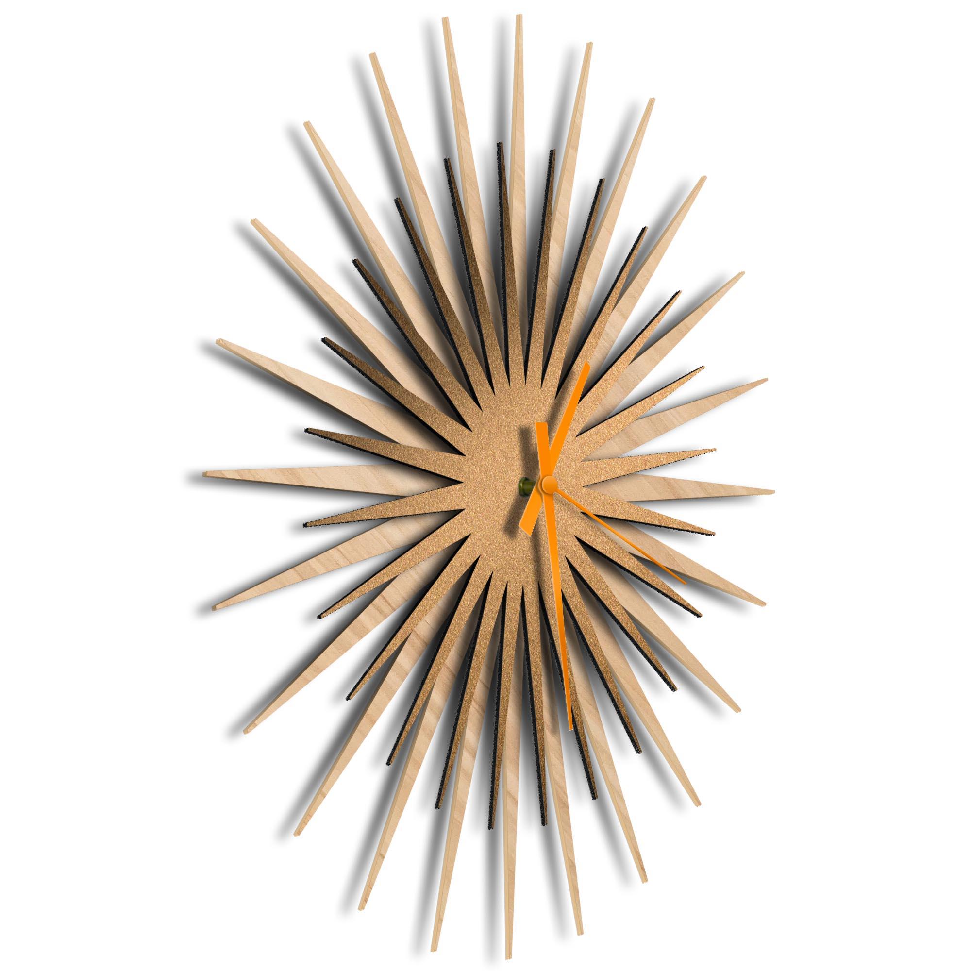 Atomic Era Clock Maple Bronze Orange by Adam Schwoeppe - Mid-Century Modern Clock on Brushed Maple Polymetal - Image 2