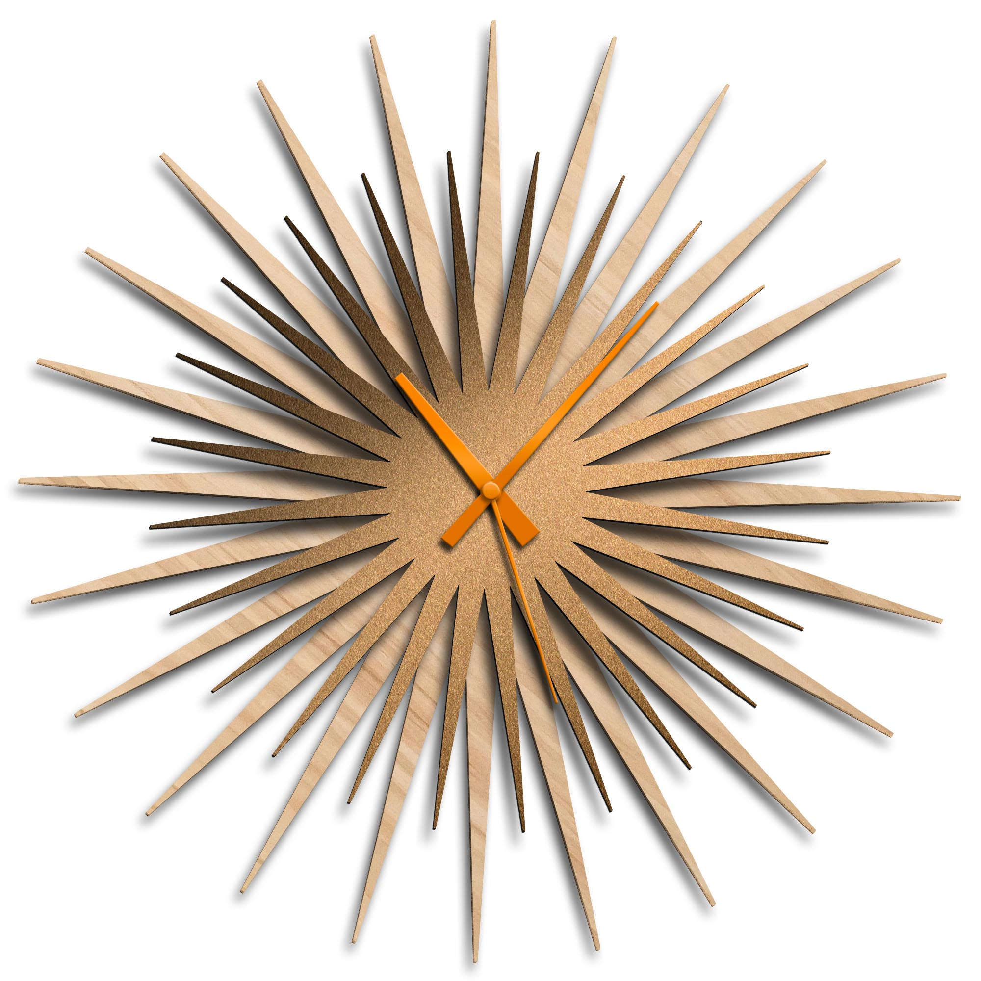 Adam Schwoeppe 'Atomic Era Clock Maple Bronze Orange' Midcentury Modern Style Wall Clock