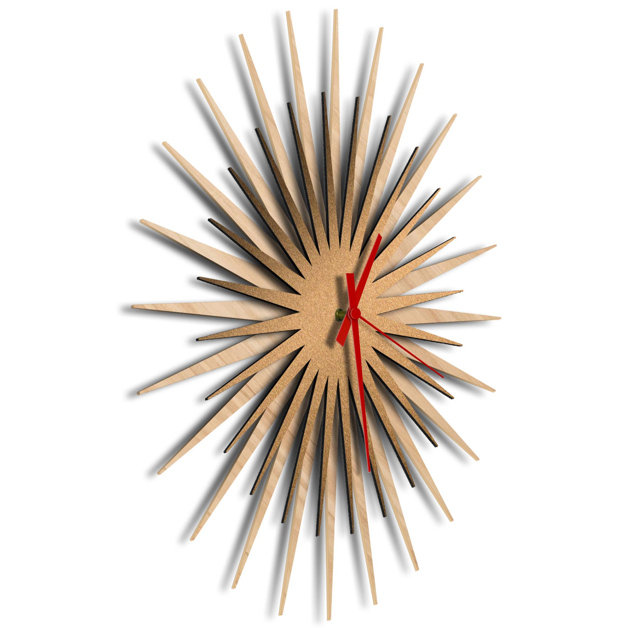 Atomic Era Clock Maple Bronze Red by Adam Schwoeppe - Mid-Century Modern Clock on Brushed Maple Polymetal - Image 2