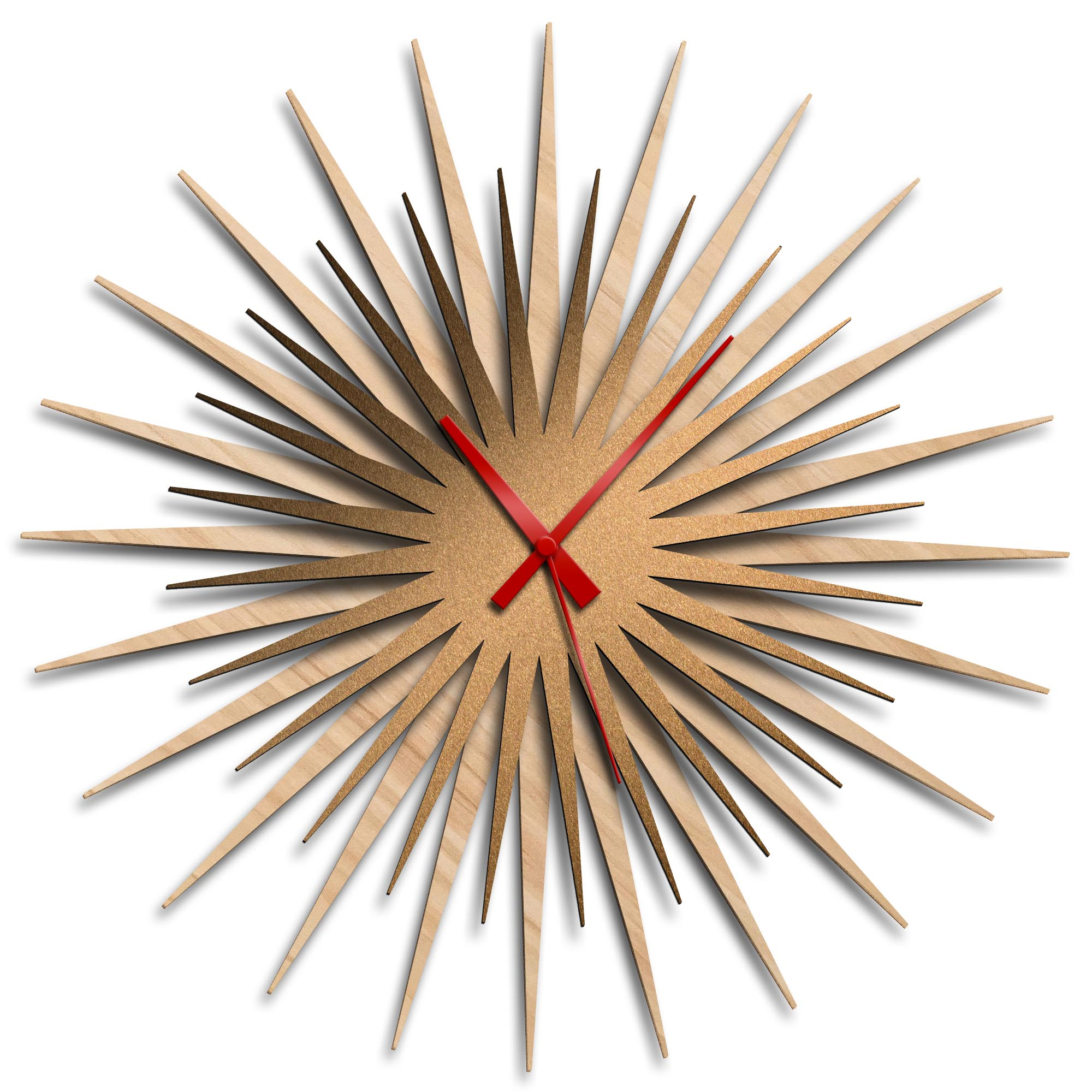 Adam Schwoeppe 'Atomic Era Clock Maple Bronze Red' Midcentury Modern Style Wall Clock