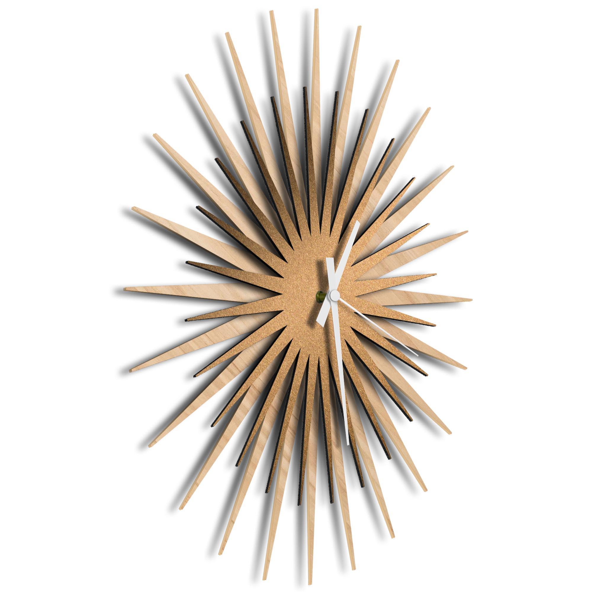 Atomic Era Clock Maple Bronze White by Adam Schwoeppe - Mid-Century Modern Clock on Brushed Maple Polymetal - Image 2