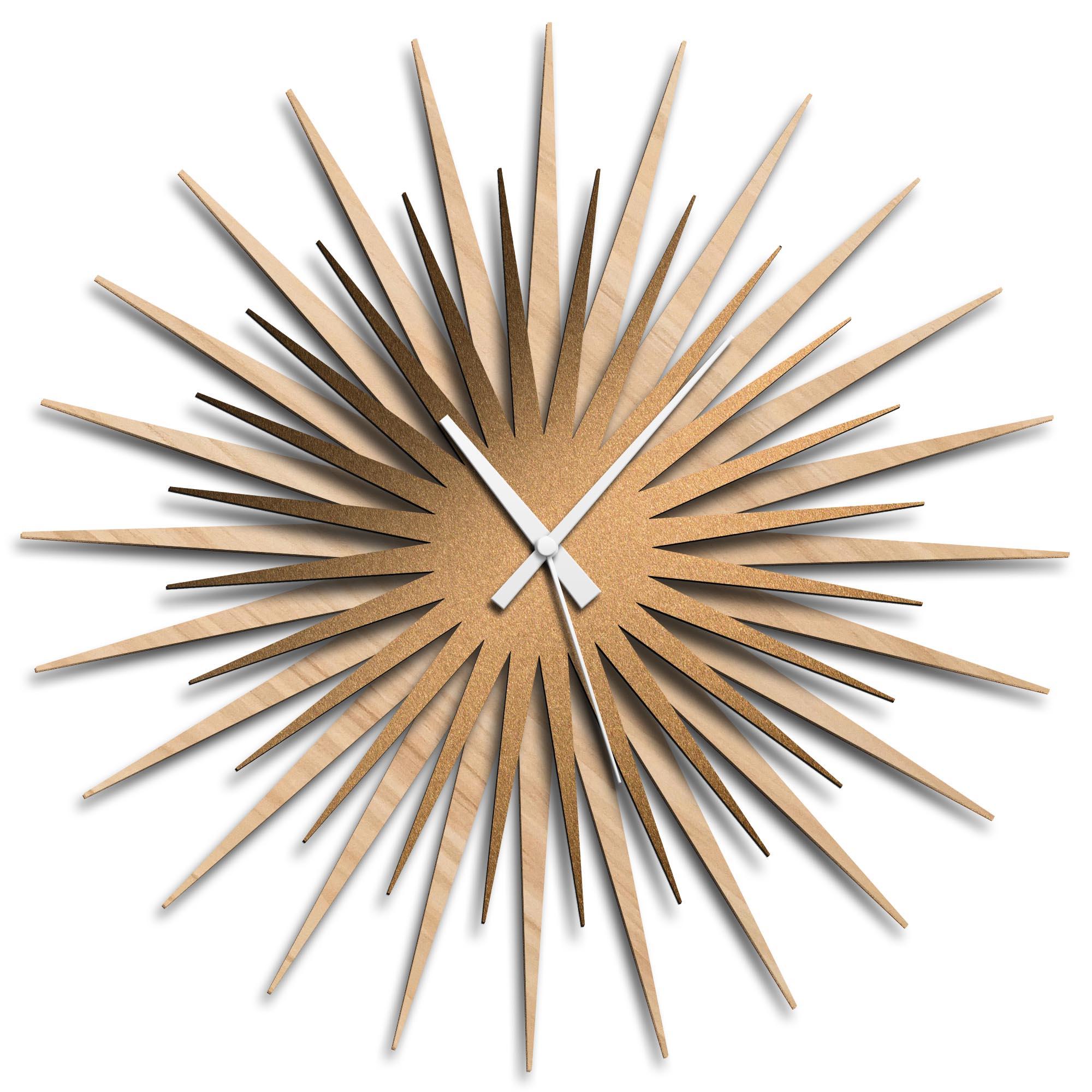 Adam Schwoeppe 'Atomic Era Clock Maple Bronze White' Midcentury Modern Style Wall Clock