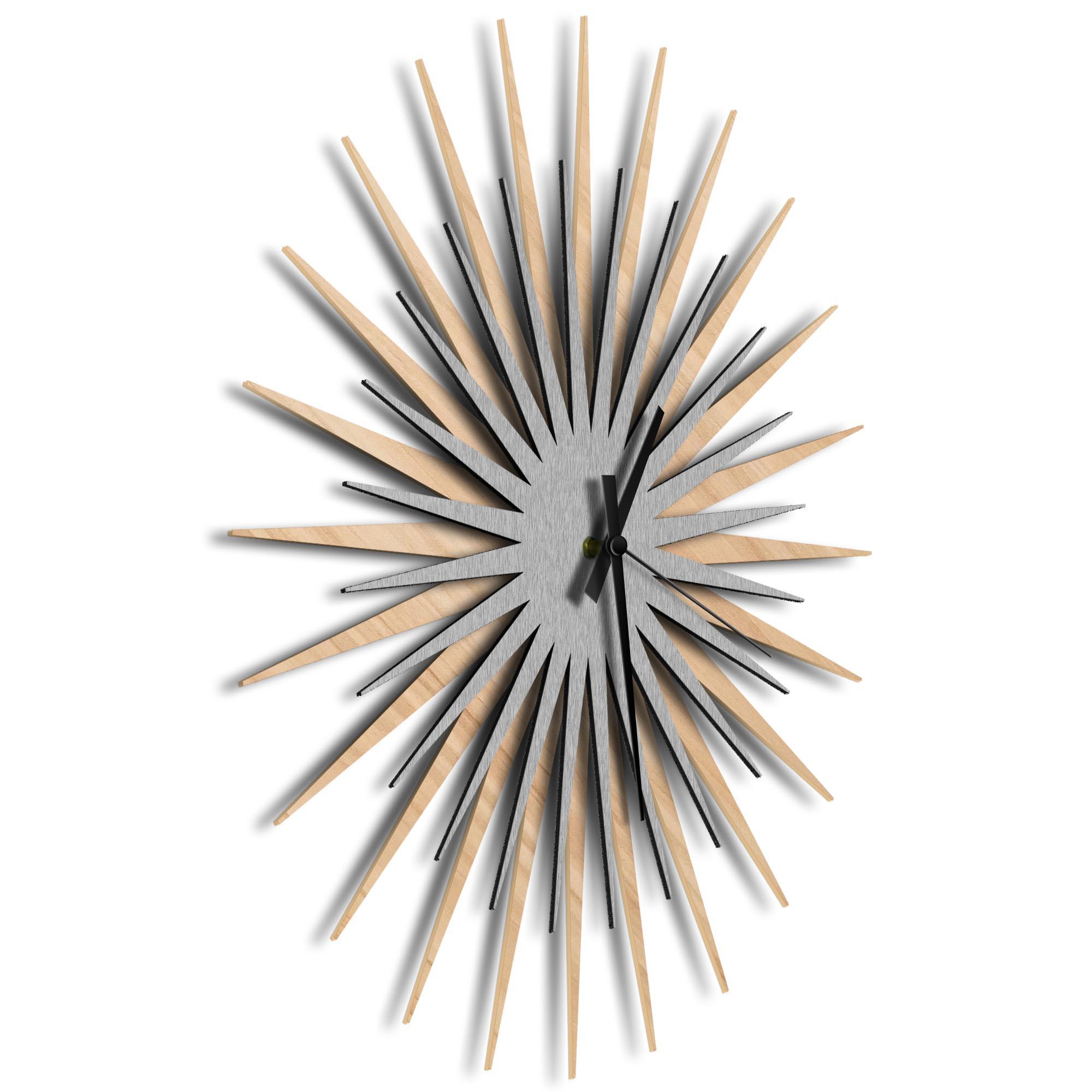 Atomic Era Clock Maple Silver Black by Adam Schwoeppe - Mid-Century Modern Clock on Brushed Maple Polymetal - Image 2