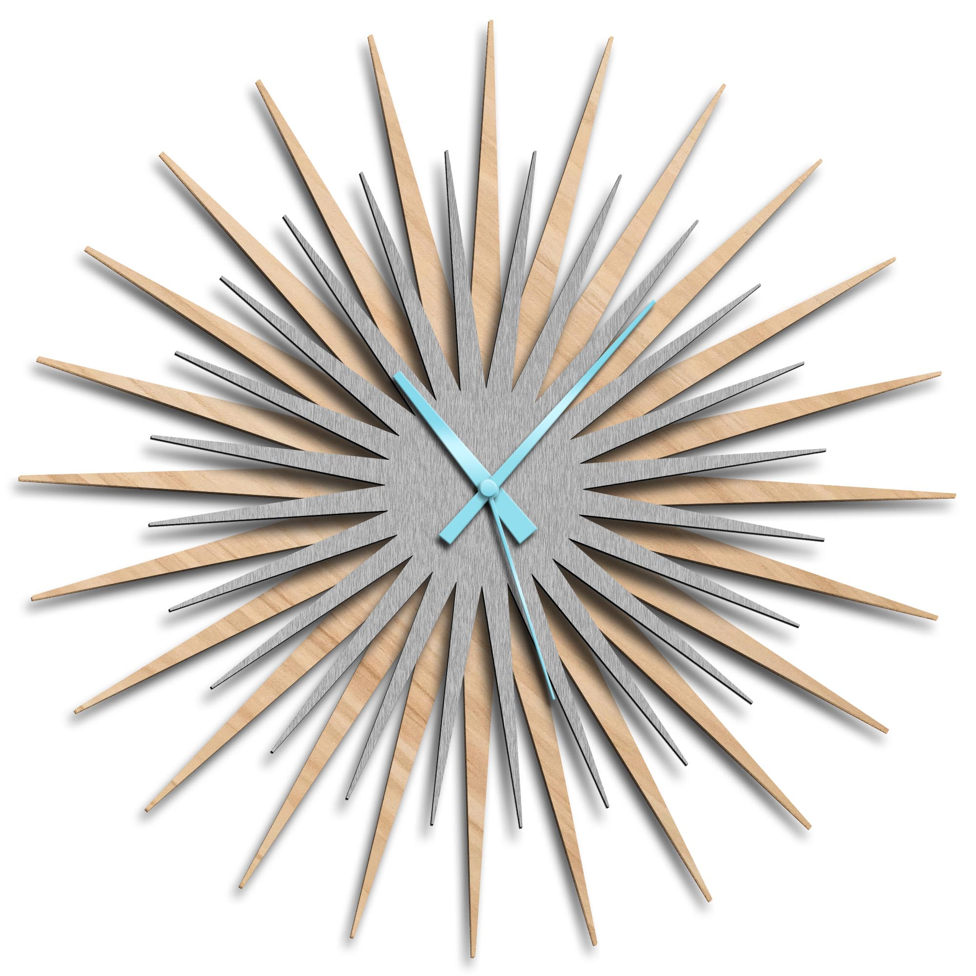 Adam Schwoeppe 'Atomic Era Clock Maple Silver Blue' Midcentury Modern Style Wall Clock