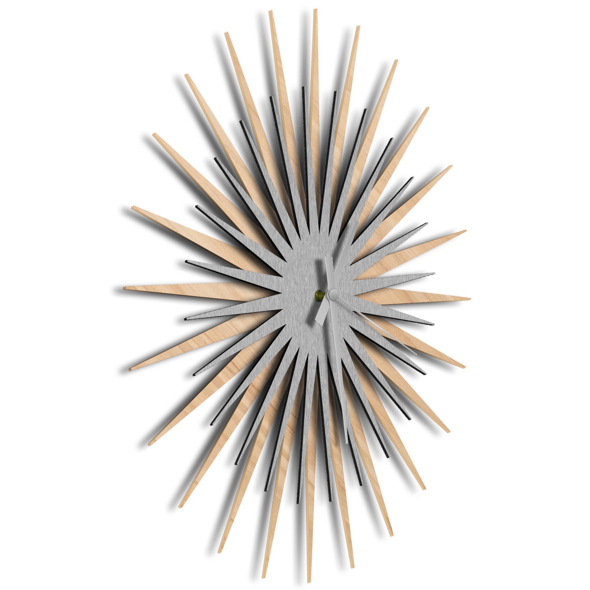 Atomic Era Clock Maple Silver Grey by Adam Schwoeppe - Mid-Century Modern Clock on Brushed Maple Polymetal - Image 2