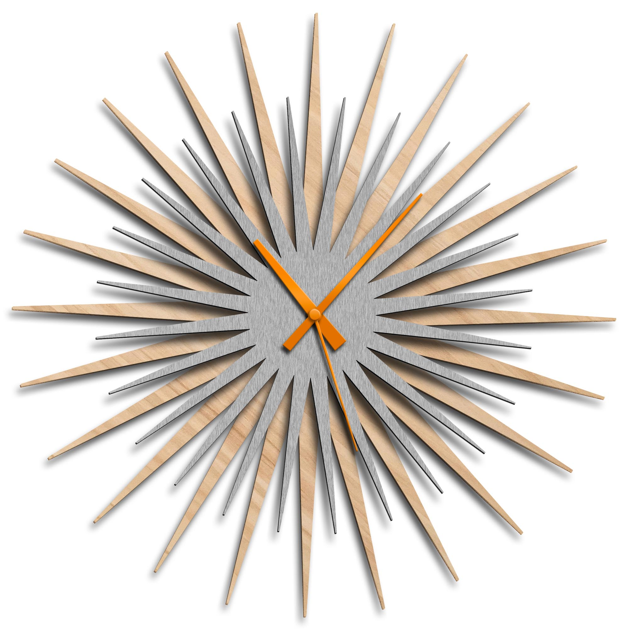 Adam Schwoeppe 'Atomic Era Clock Maple Silver Orange' Midcentury Modern Style Wall Clock