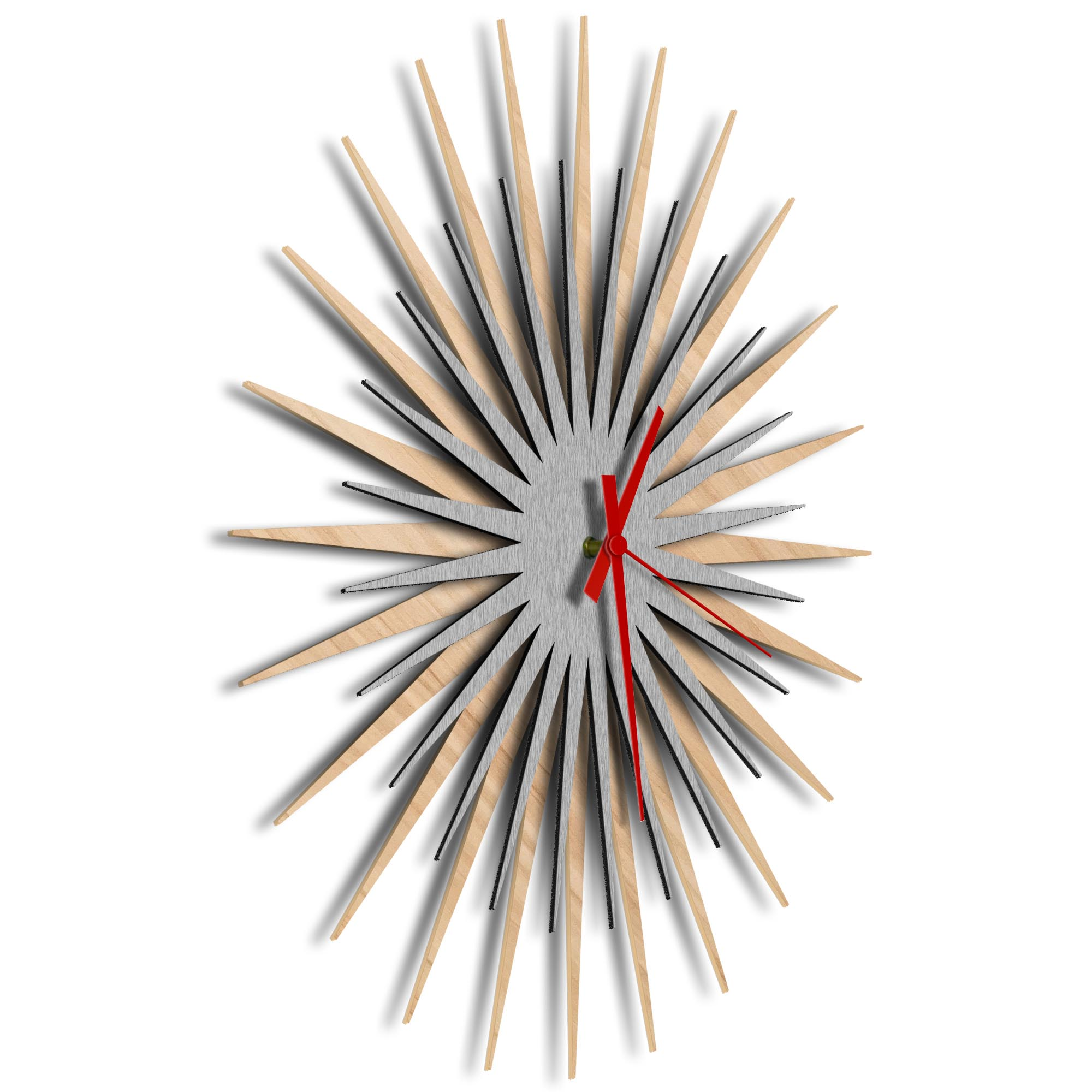 Atomic Era Clock Maple Silver Red by Adam Schwoeppe - Mid-Century Modern Clock on Brushed Maple Polymetal - Image 2
