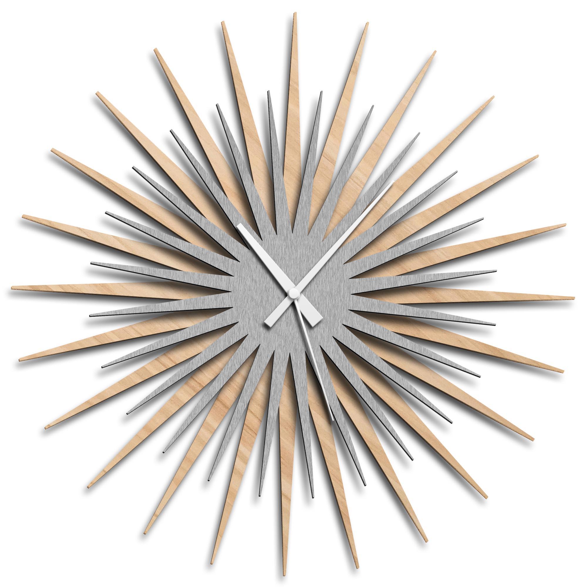 Adam Schwoeppe 'Atomic Era Clock Maple Silver White' Midcentury Modern Style Wall Clock