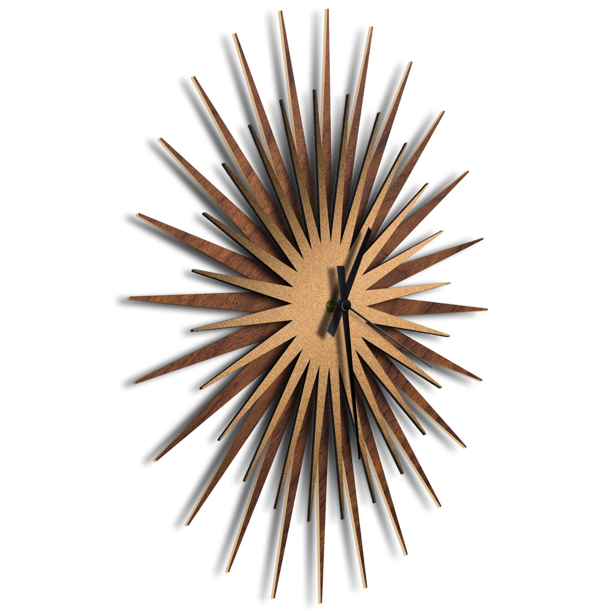 Atomic Era Clock Walnut Bronze Black by Adam Schwoeppe - Mid-Century Modern Clock on Brushed Walnut Polymetal - Image 2