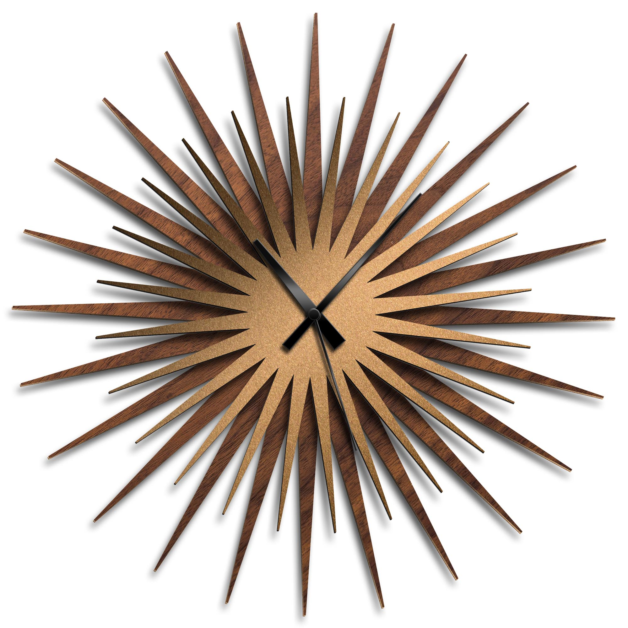 Adam Schwoeppe 'Atomic Era Clock Walnut Bronze Black' Midcentury Modern Style Wall Clock