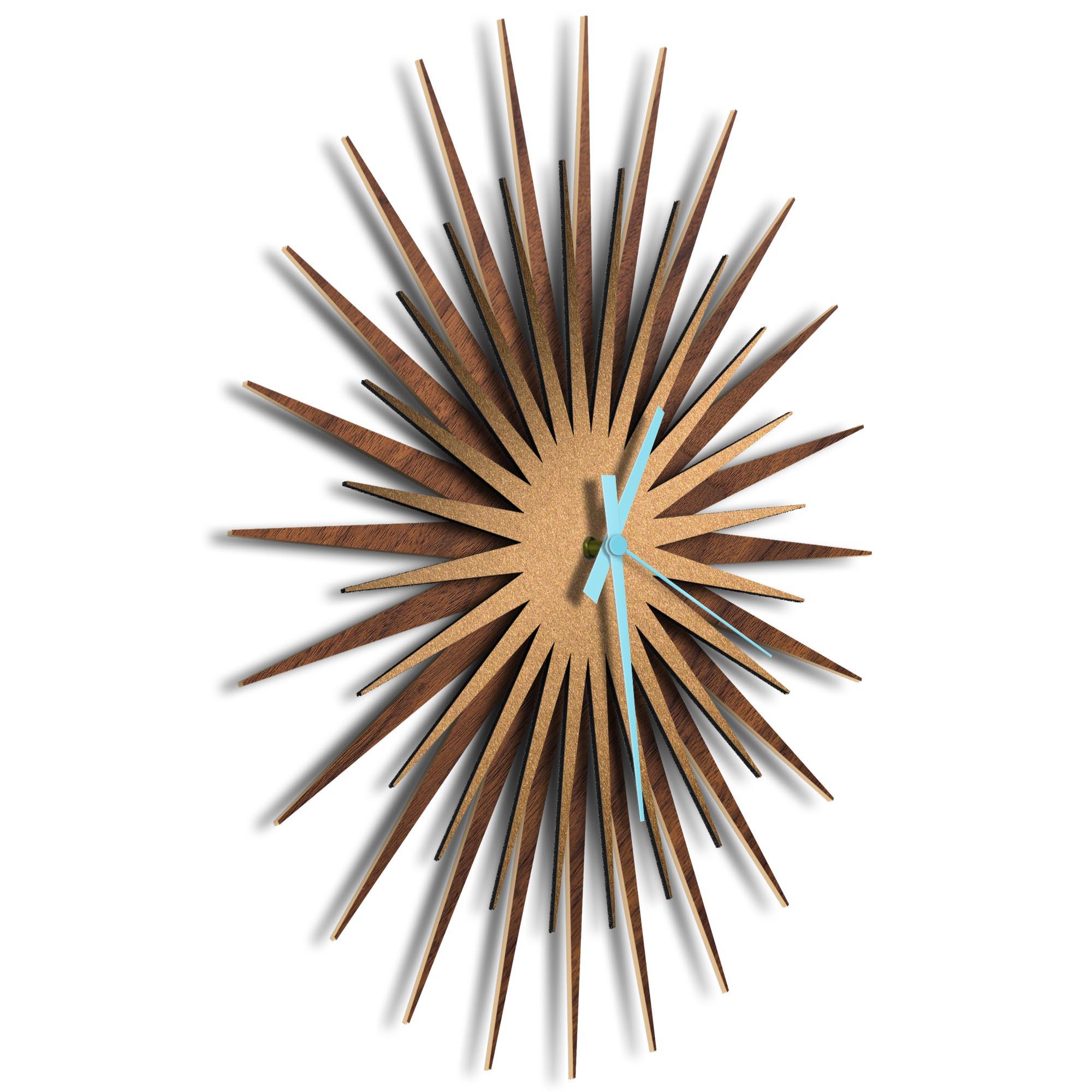 Atomic Era Clock Walnut Bronze Blue by Adam Schwoeppe - Mid-Century Modern Clock on Brushed Walnut Polymetal - Image 2