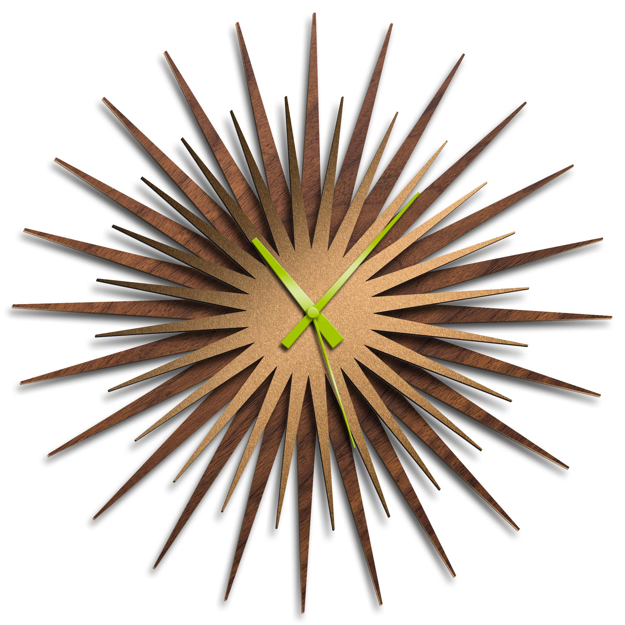 Adam Schwoeppe 'Atomic Era Clock Walnut Bronze Green' Midcentury Modern Style Wall Clock