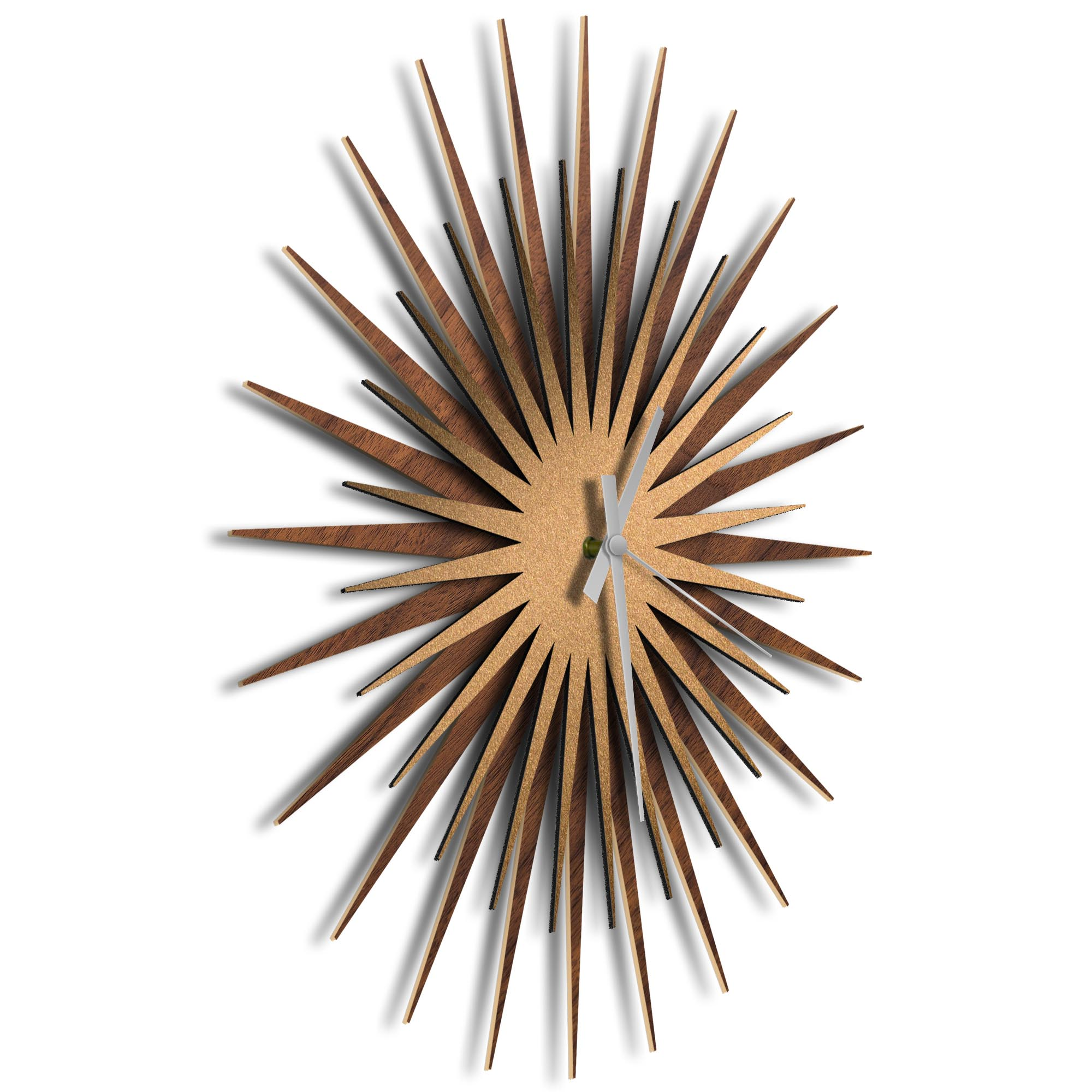 Atomic Era Clock Walnut Bronze Grey by Adam Schwoeppe - Mid-Century Modern Clock on Brushed Walnut Polymetal - Image 2